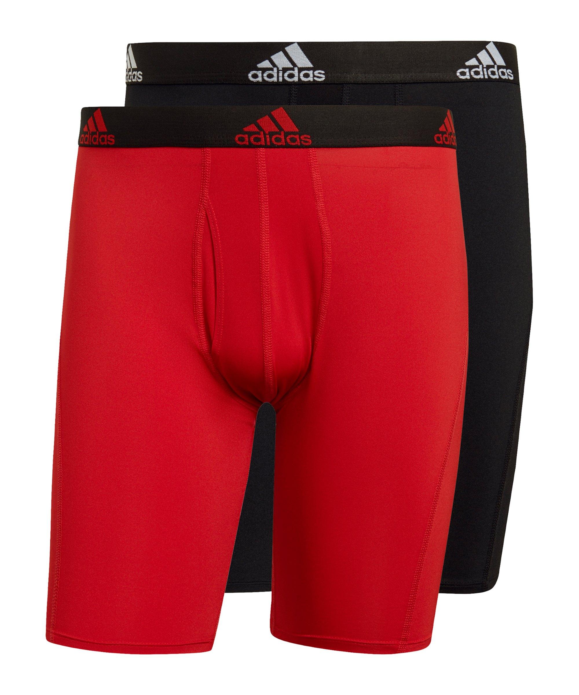 adidas BOS Brief 2er Pack Boxershort Schwarz Rot - schwarz