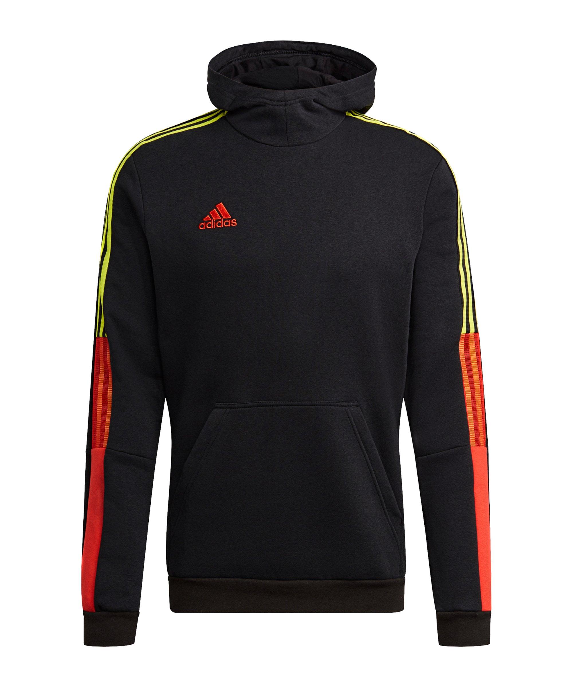 adidas Tiro Hoody Schwarz Rot Gelb - schwarz