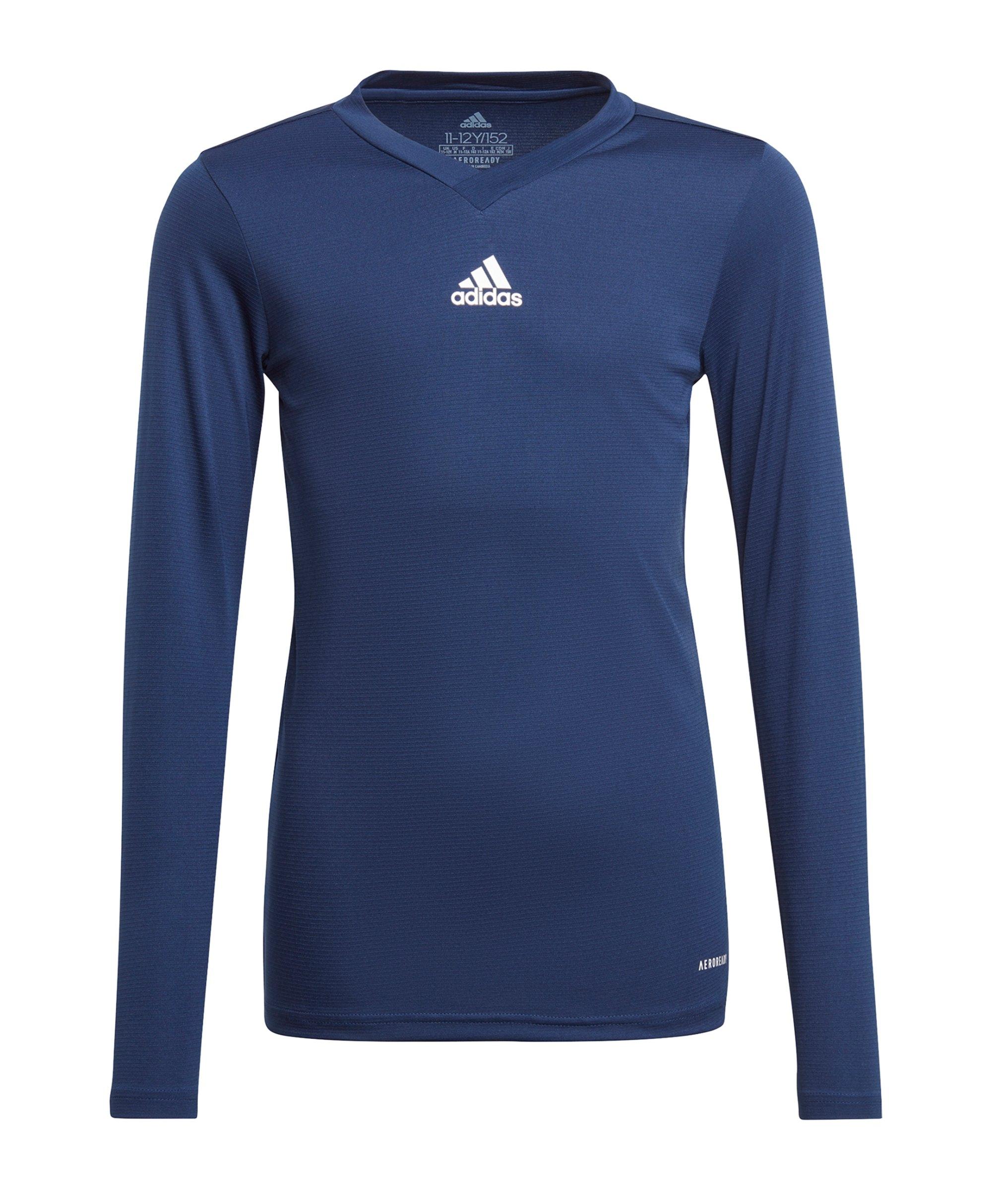 adidas Team Base Top langarm Kids Blau - blau