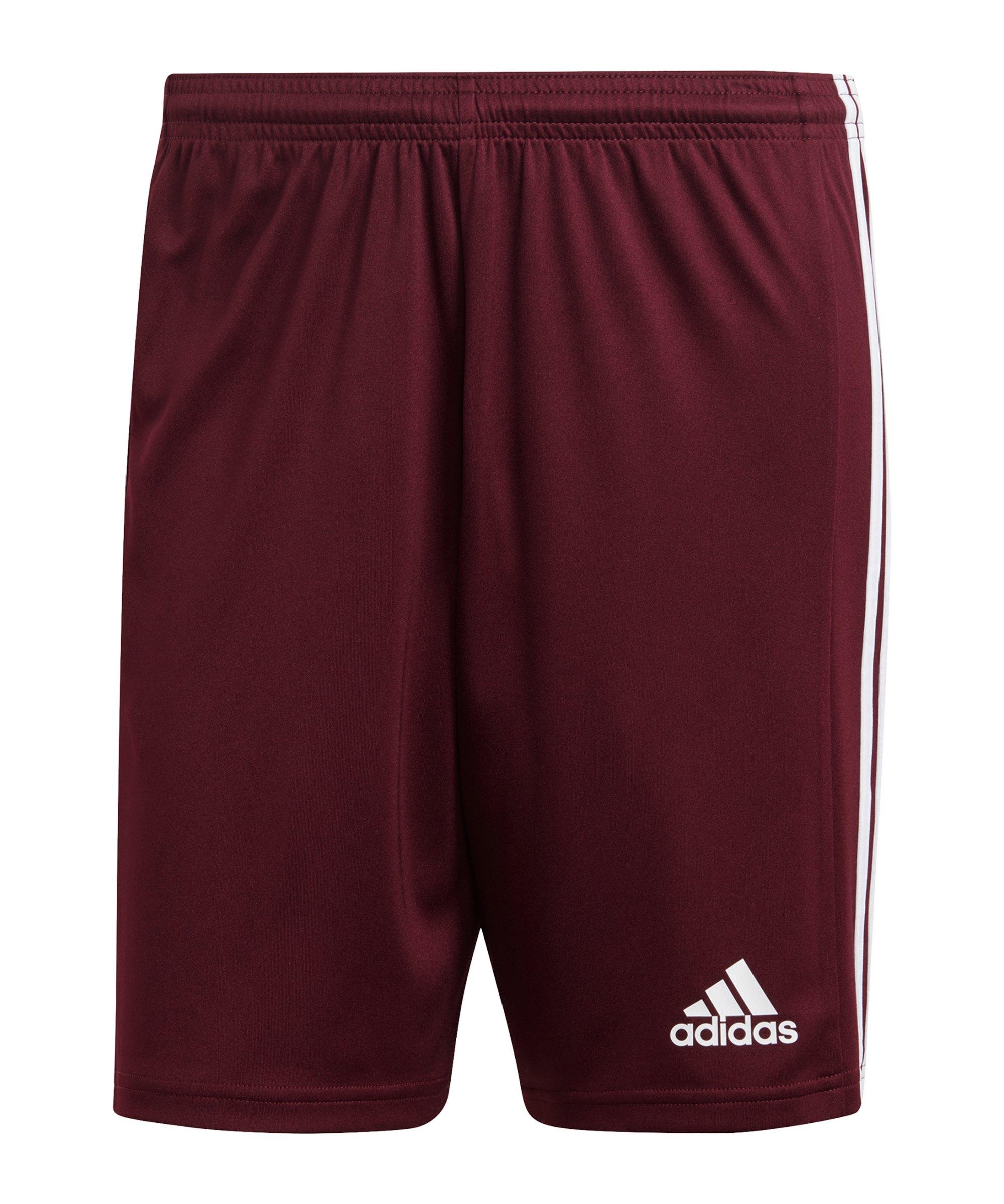 adidas Squadra 21 Short Dunkelrot Weiss - rot