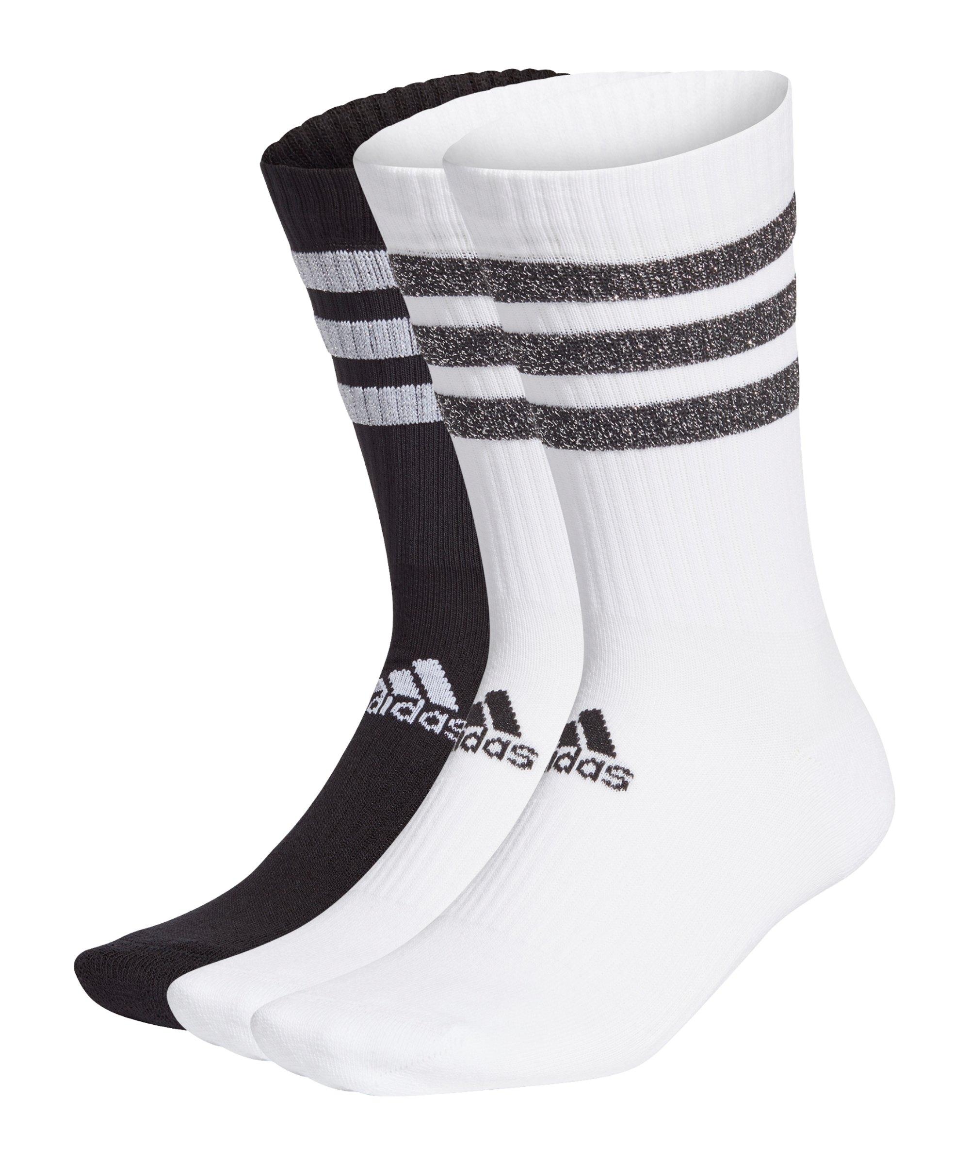 adidas 3S Glam Crew Socken Weiss Schwarz - weiss
