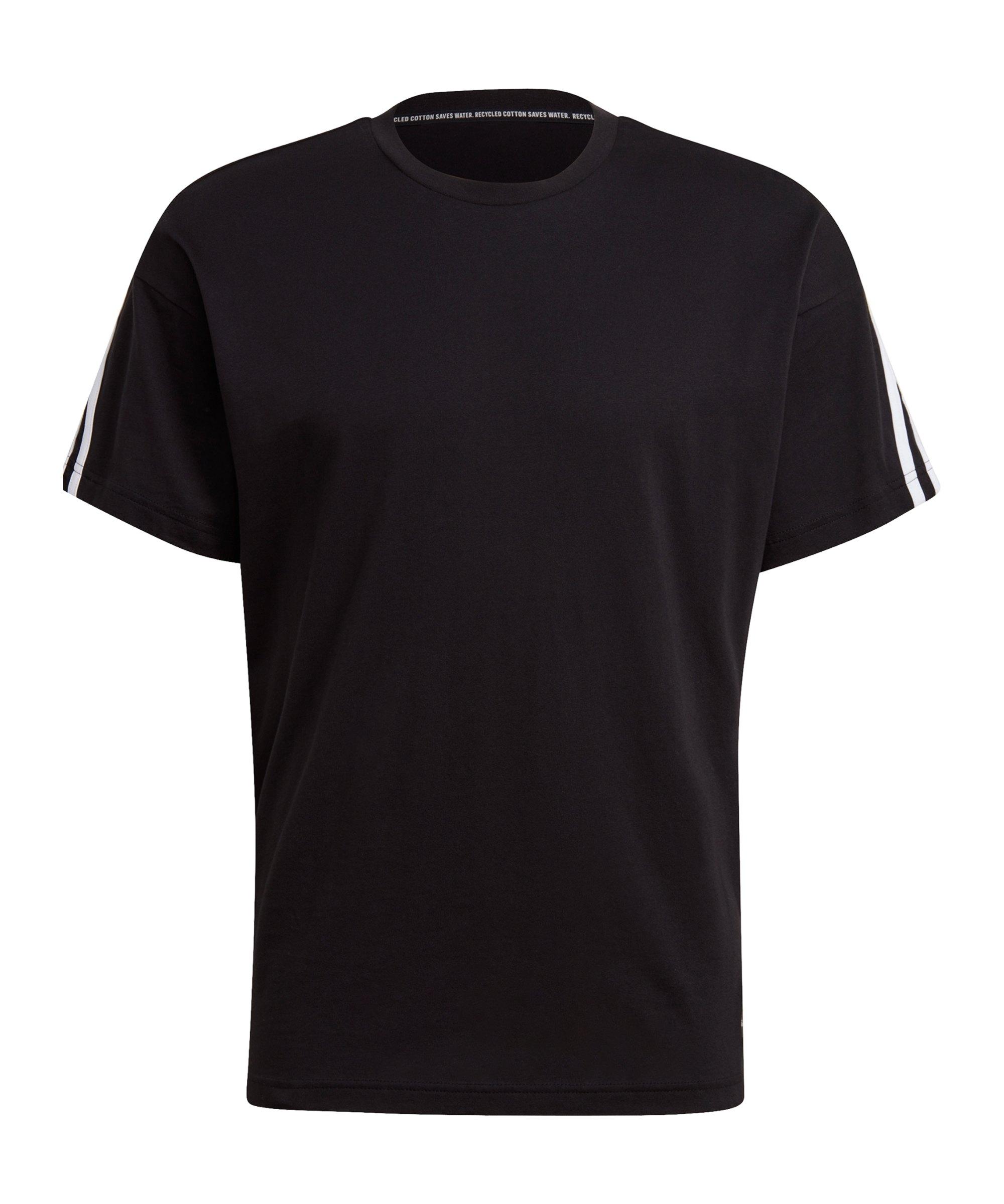 adidas 3 Stripes T-Shirt Schwarz - schwarz
