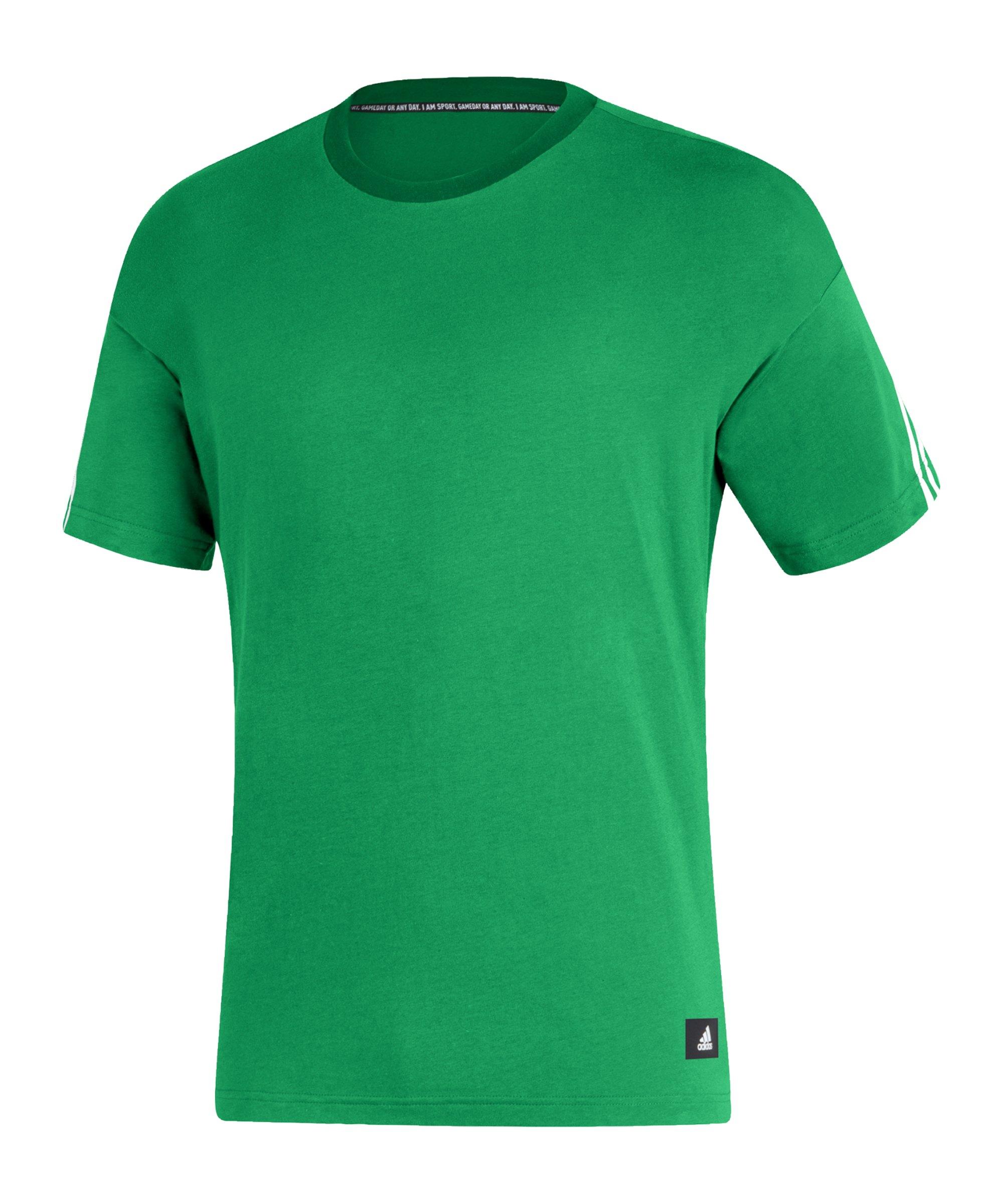 adidas 3 Stripes T-Shirt Grün - gruen