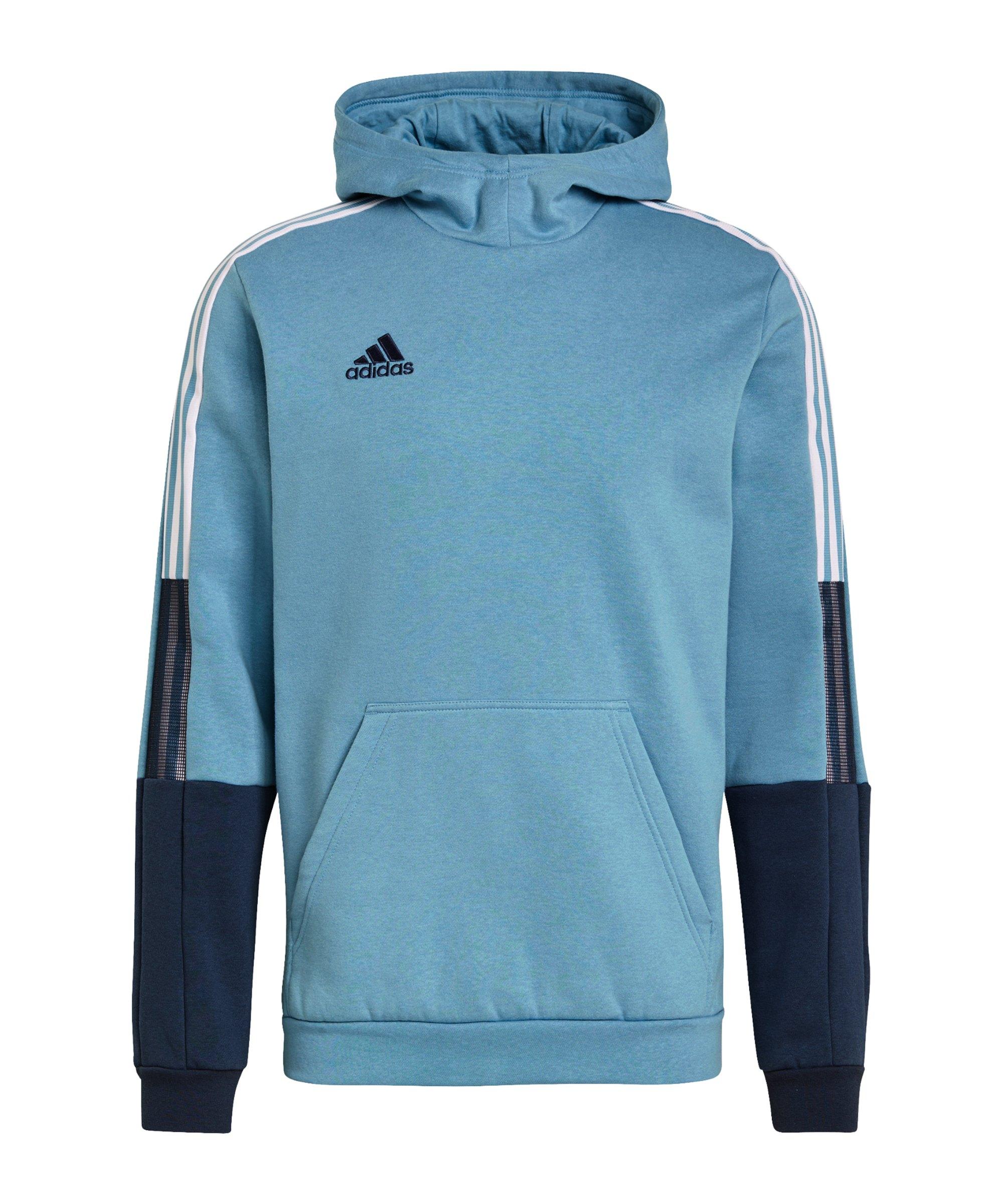 adidas Tiro Hoody Blau Weiss - blau