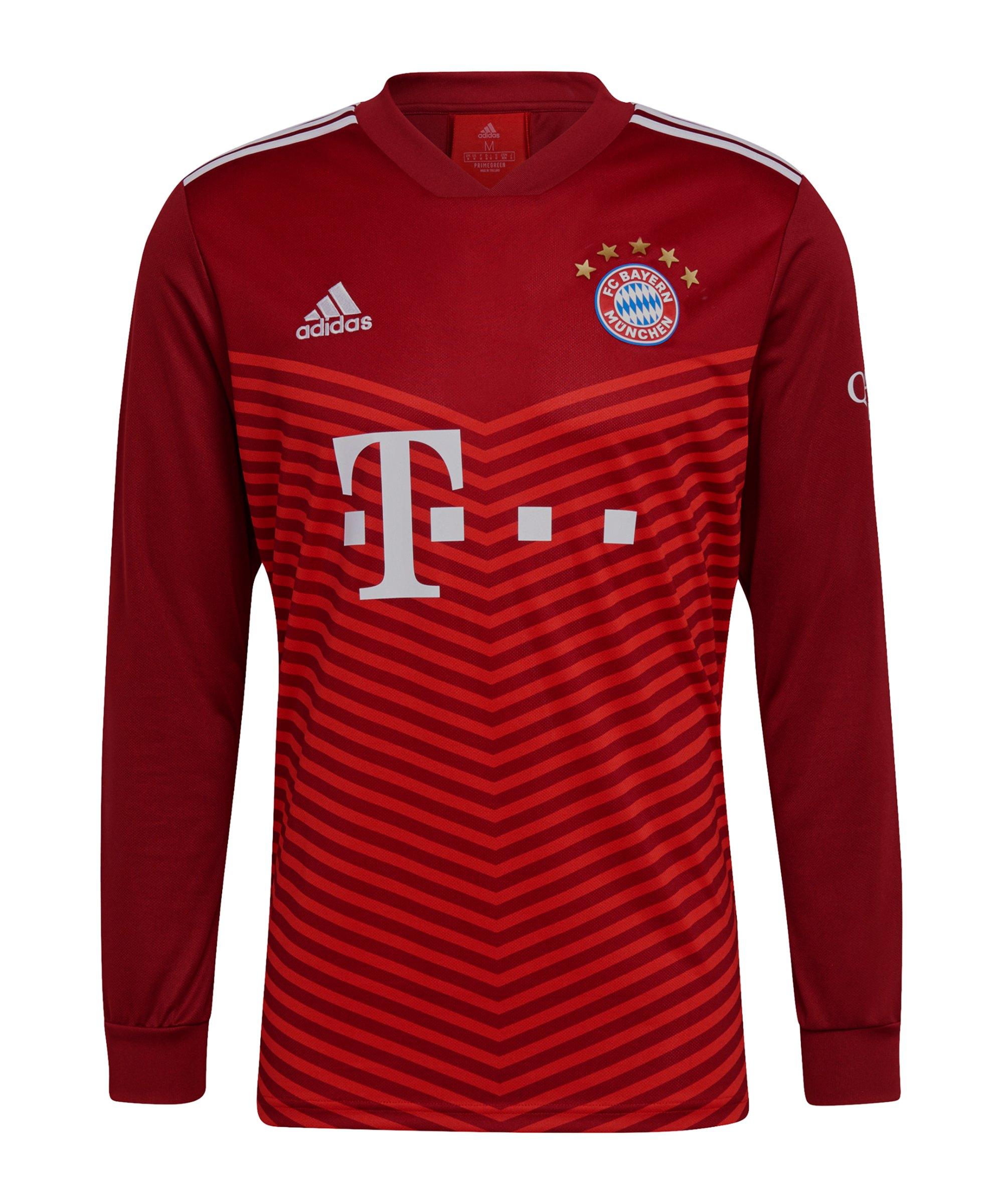 adidas FC Bayern München langarm Trikot Home 2021/2022 Rot - rot