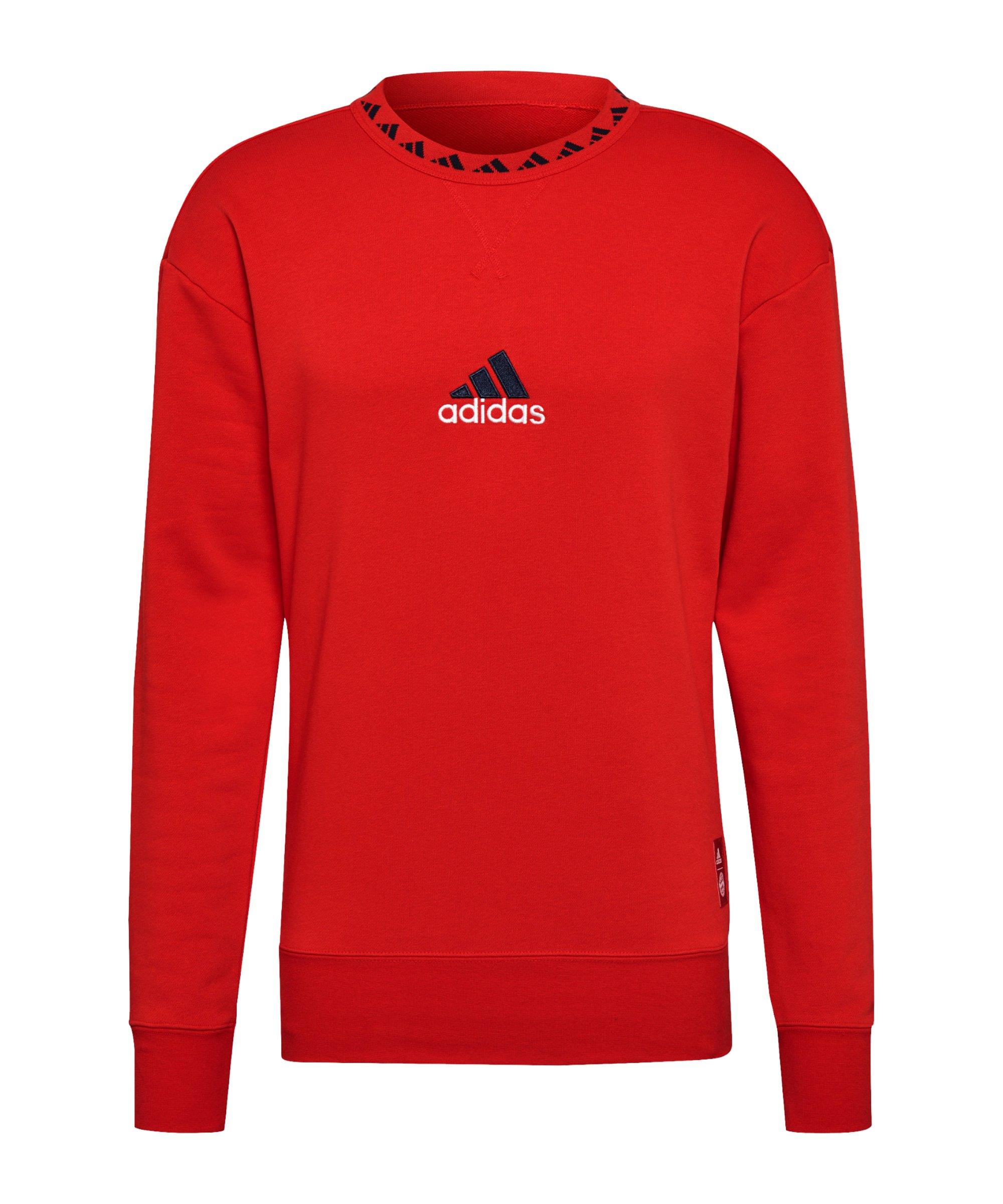 adidas FC Bayern München Icon Crew Sweatshirt Rot - rot