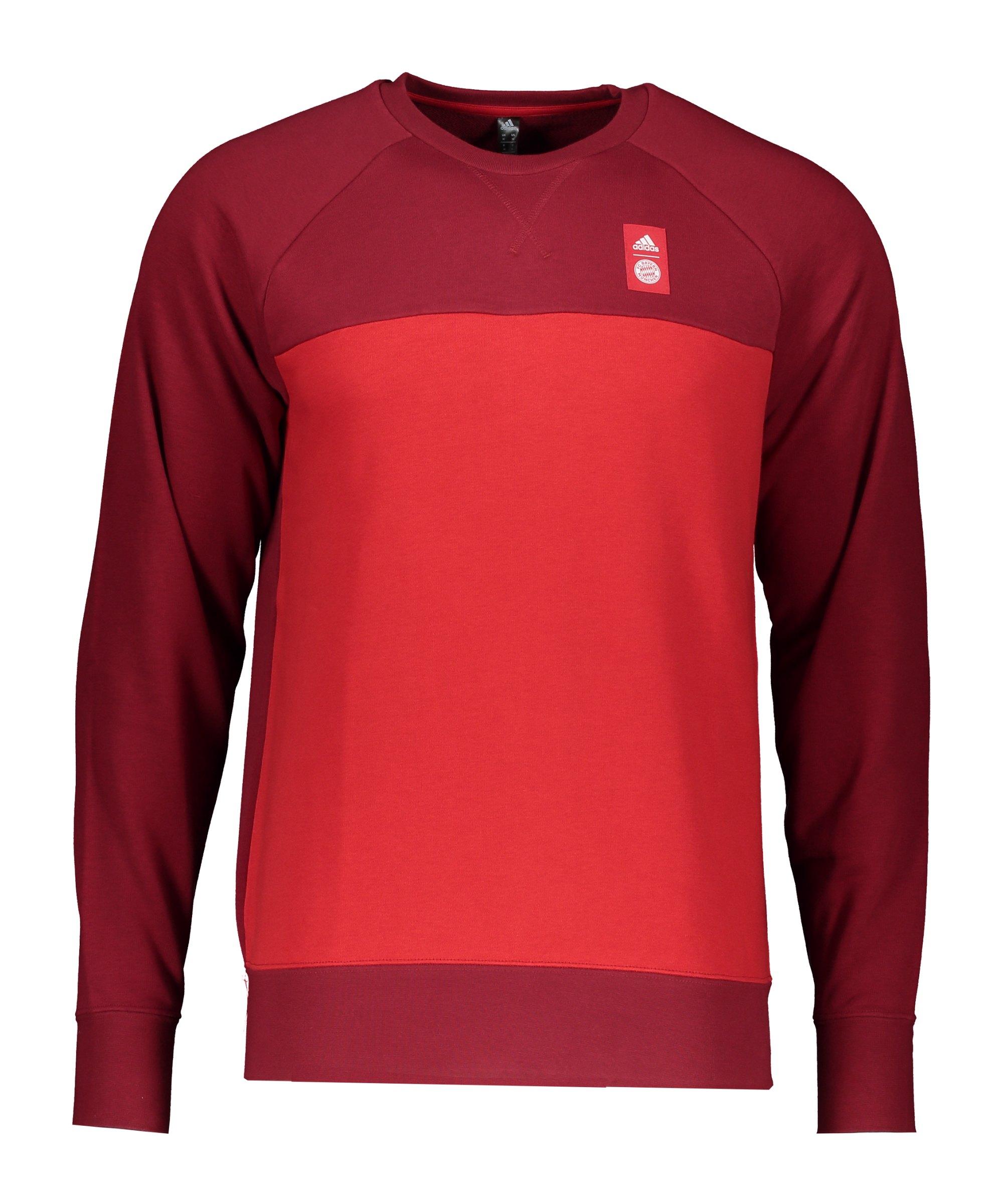 adidas FC Bayern München Crew Sweatshirt Rot Rot - rot