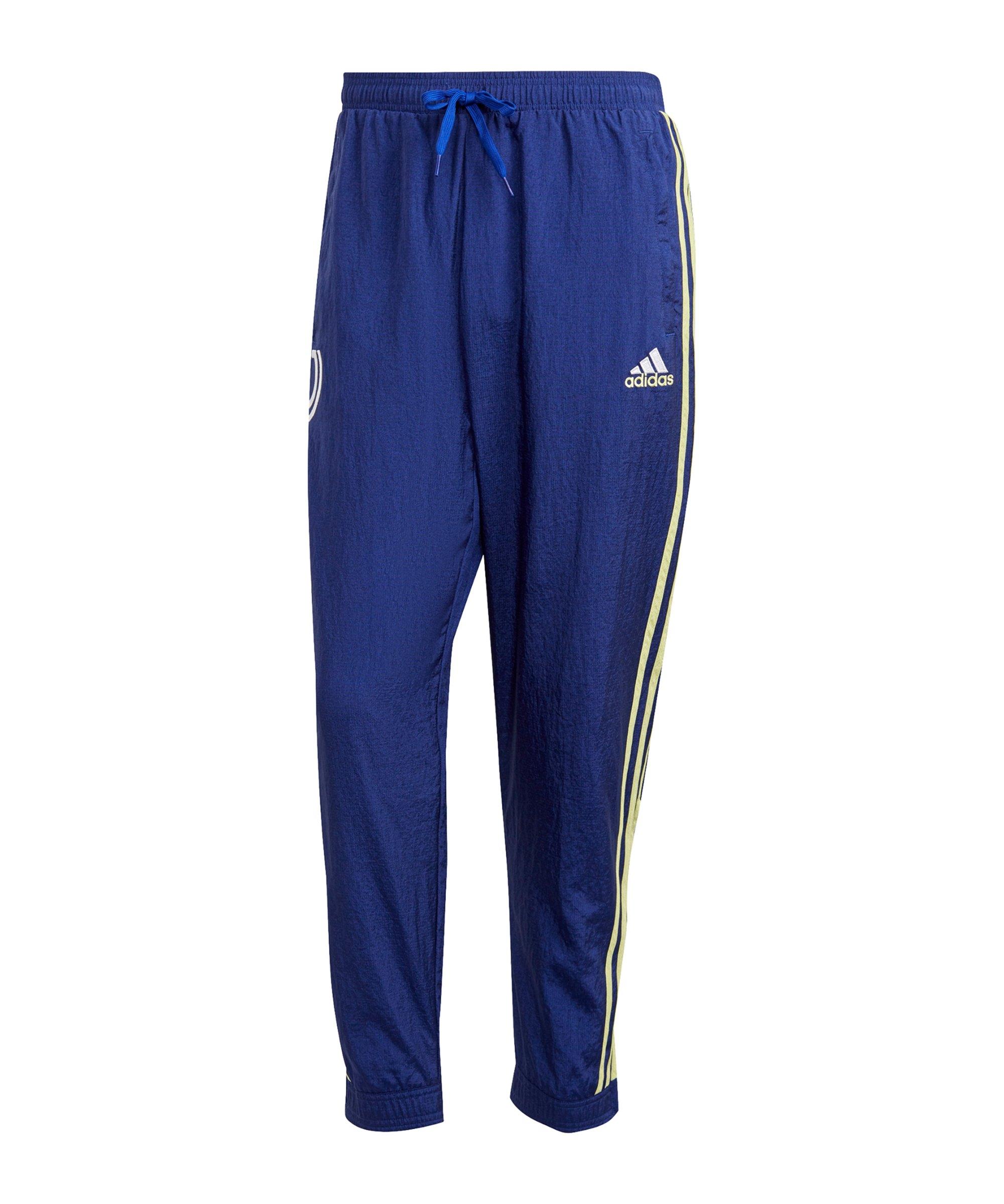 adidas Juventus Turin Icon Woven Jogginghose Blau Gelb - blau