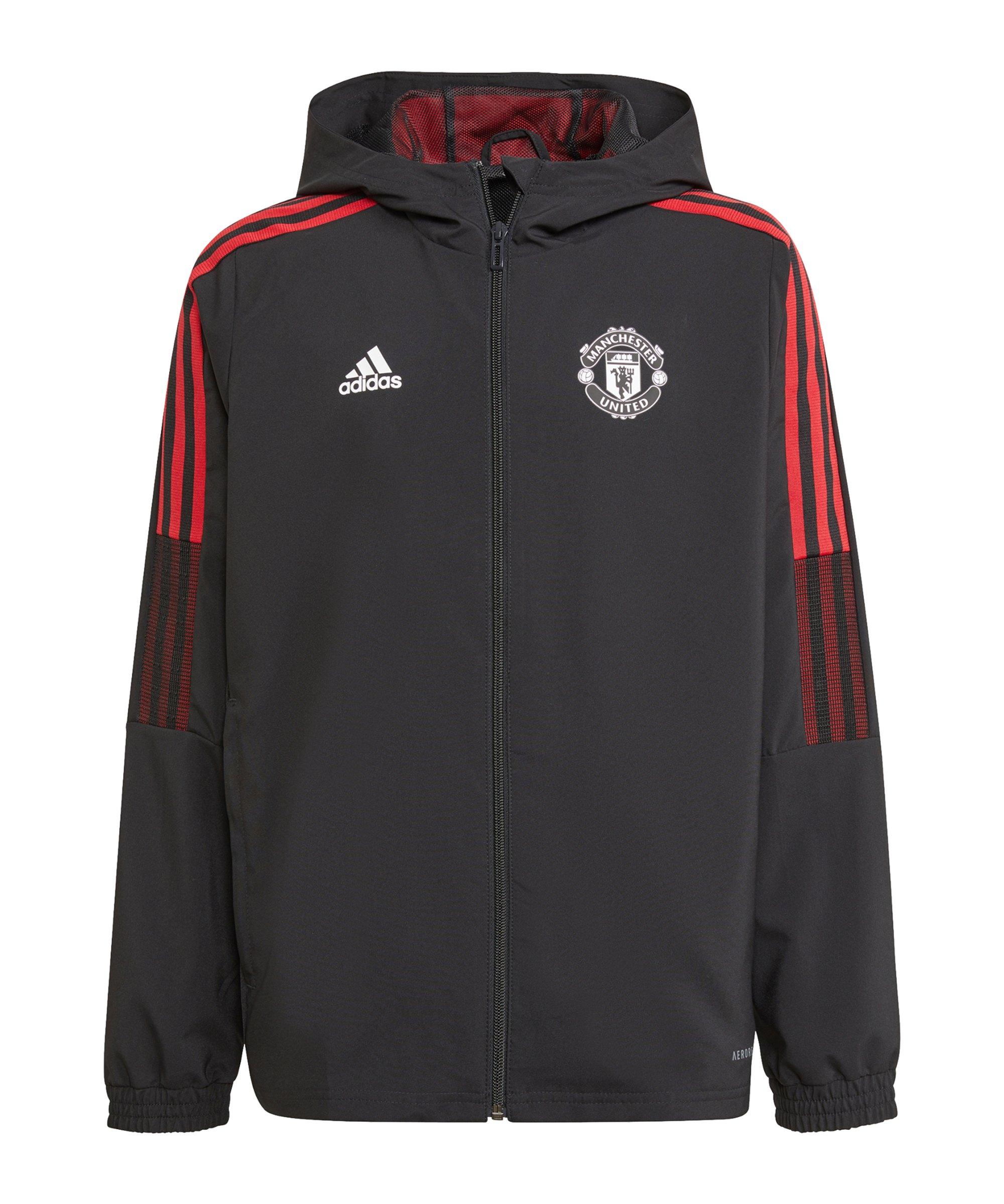 adidas Manchester United Prematch Jacke Kids Schwarz - schwarz