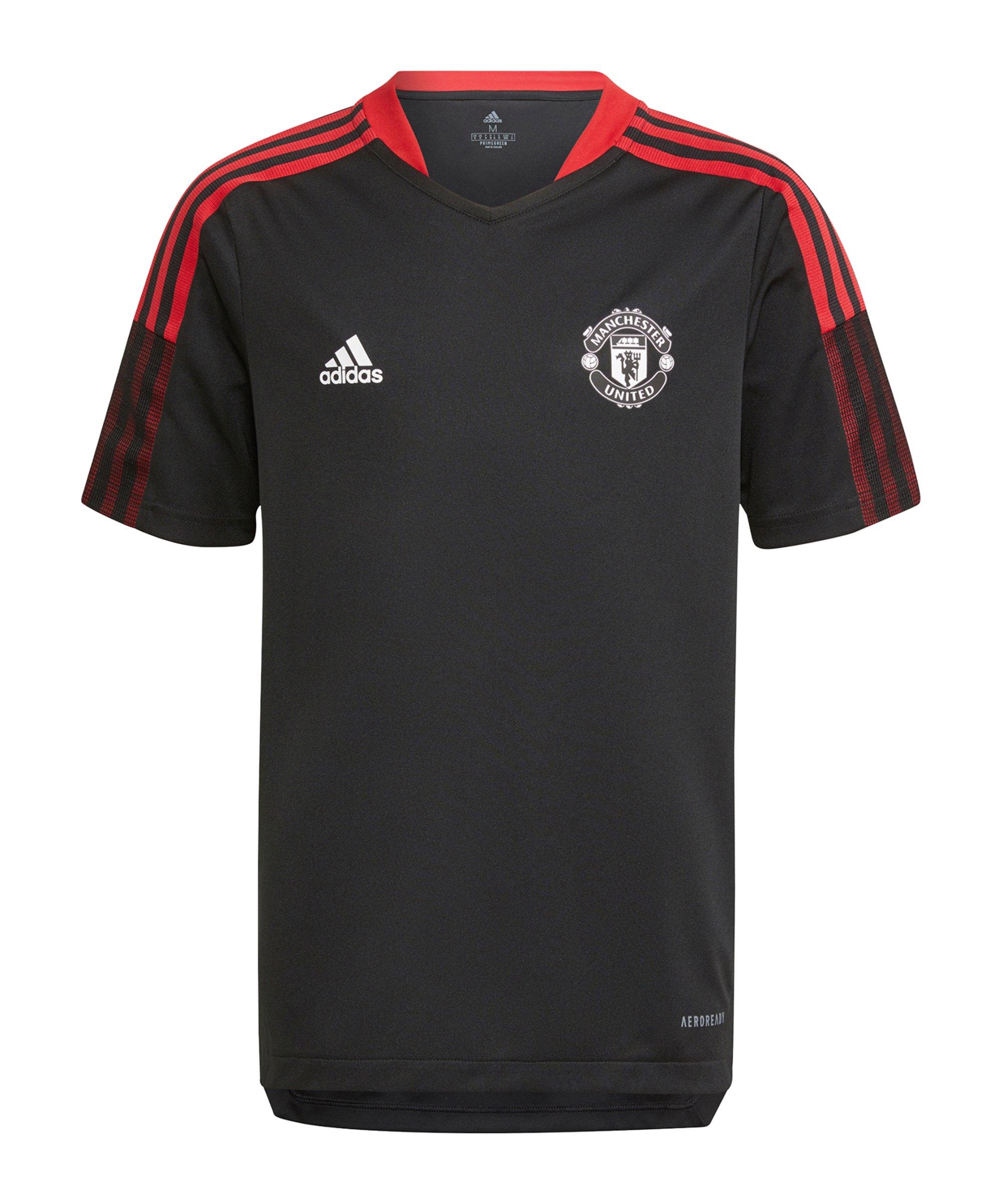adidas Manchester United Trainingsshirt Kids Schwarz - schwarz