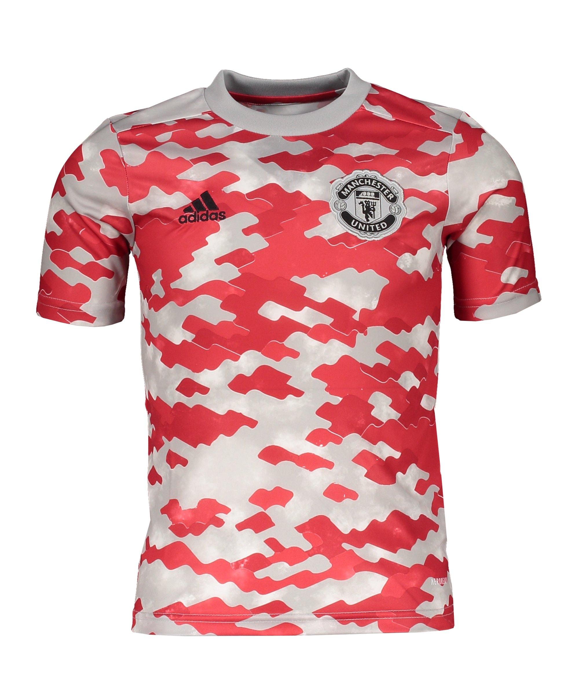 adidas Manchester United Prematch Shirt 2021/2022 Kids Rot - rot
