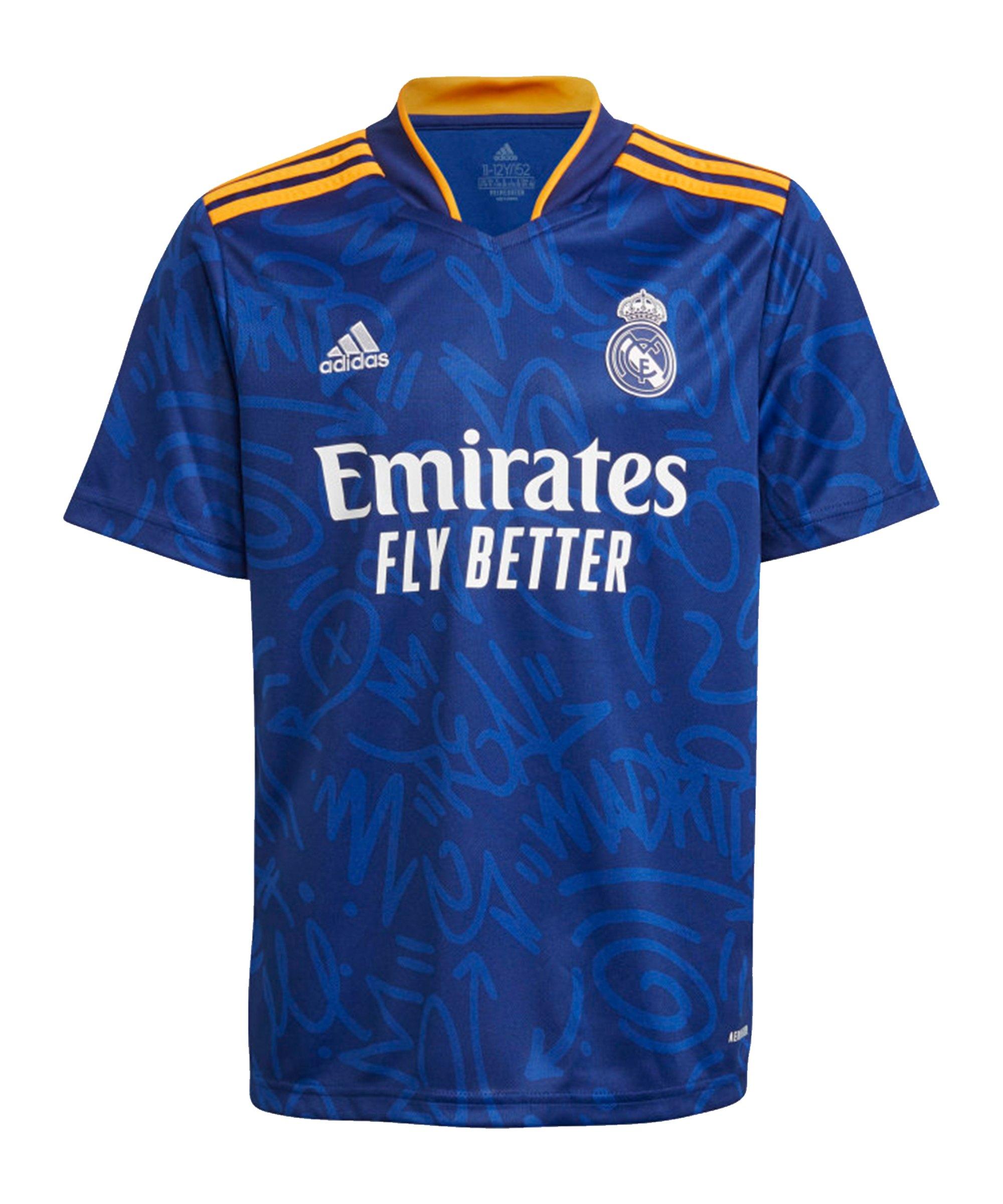 adidas Real Madrid Trikot Away 2021/2022 Kids Blau - blau