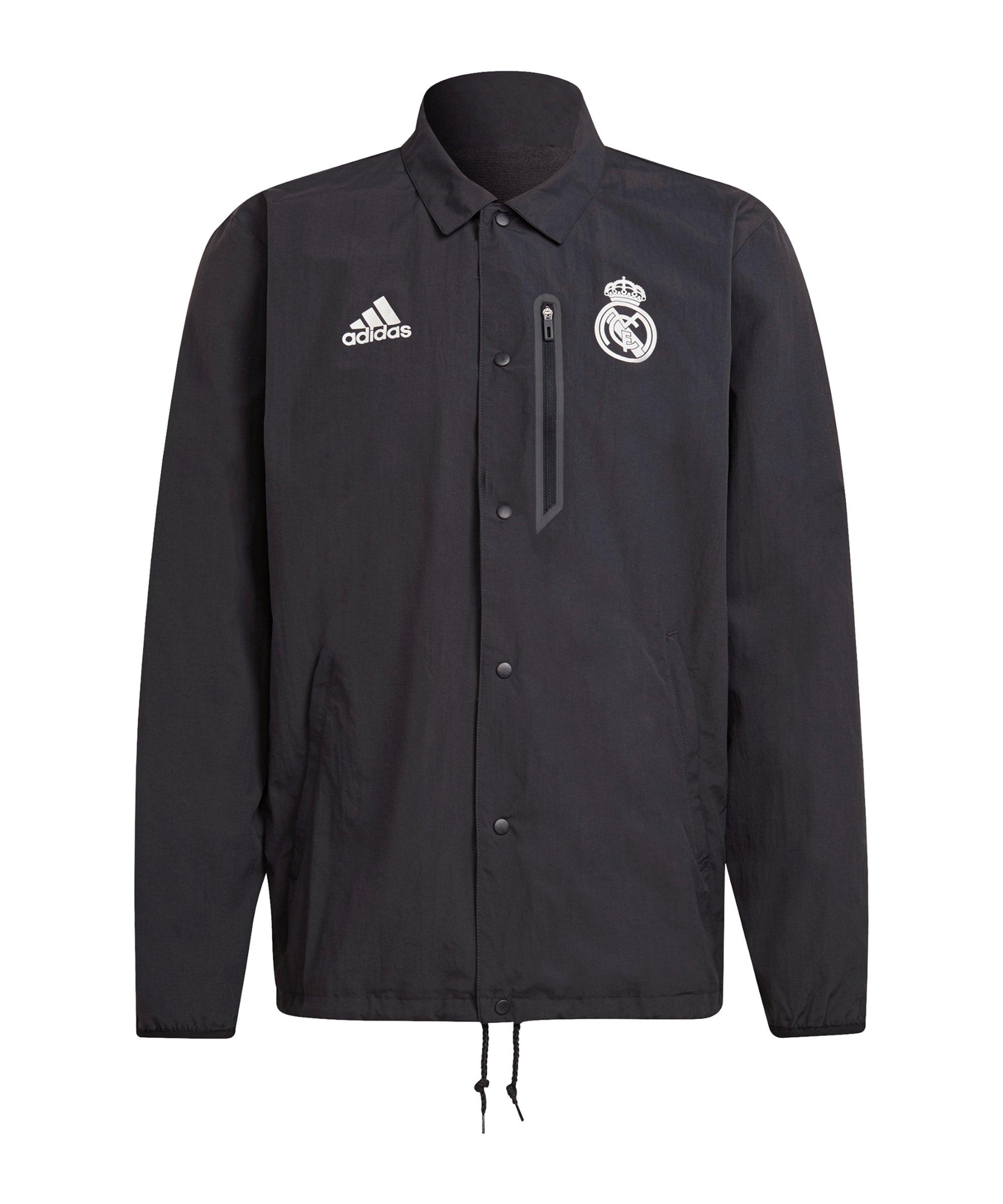 adidas Real Madrid Coachjacke Schwarz - schwarz
