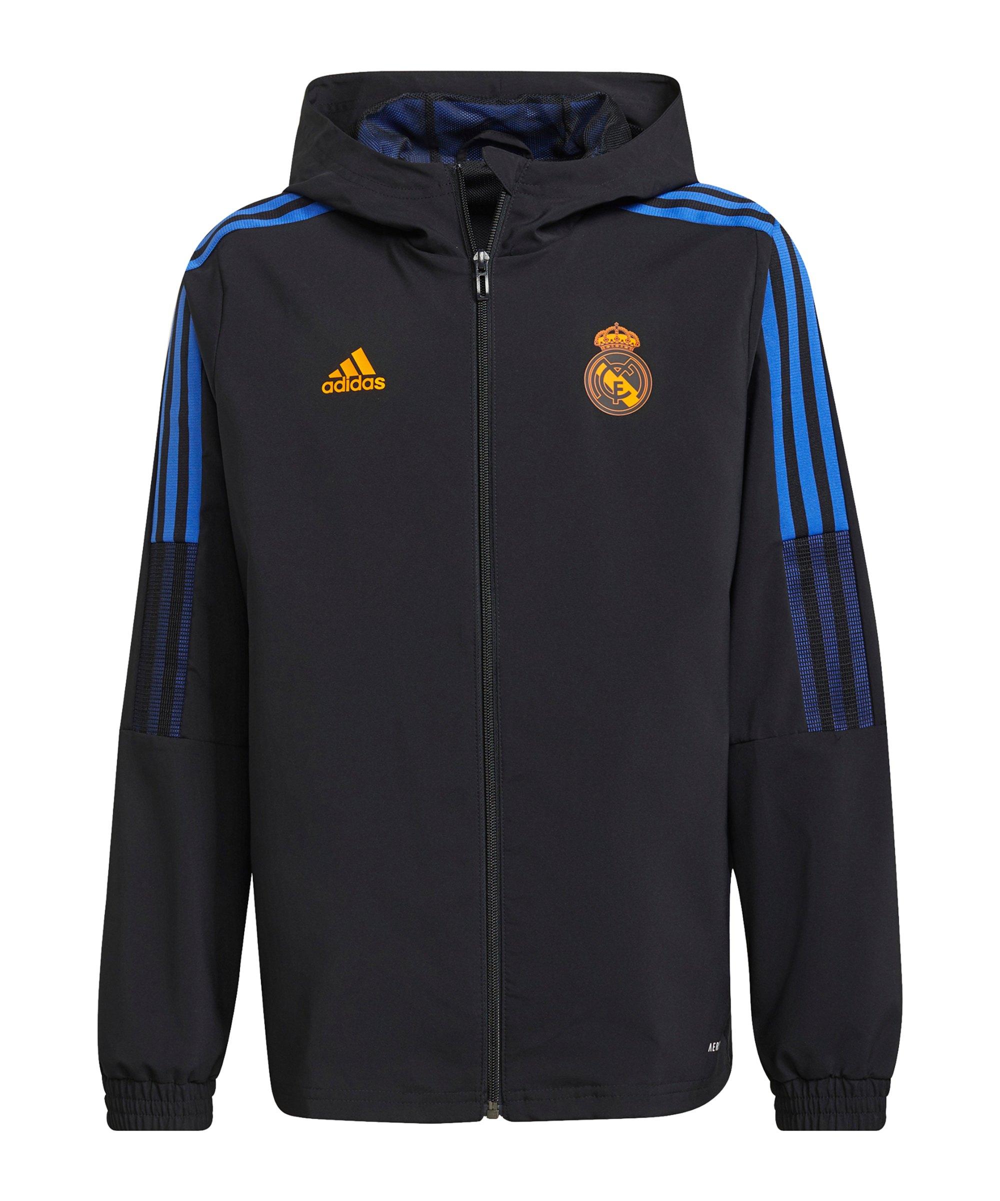 adidas Real Madrid Prematch Jacke 2021/2022 Kids Schwarz - schwarz
