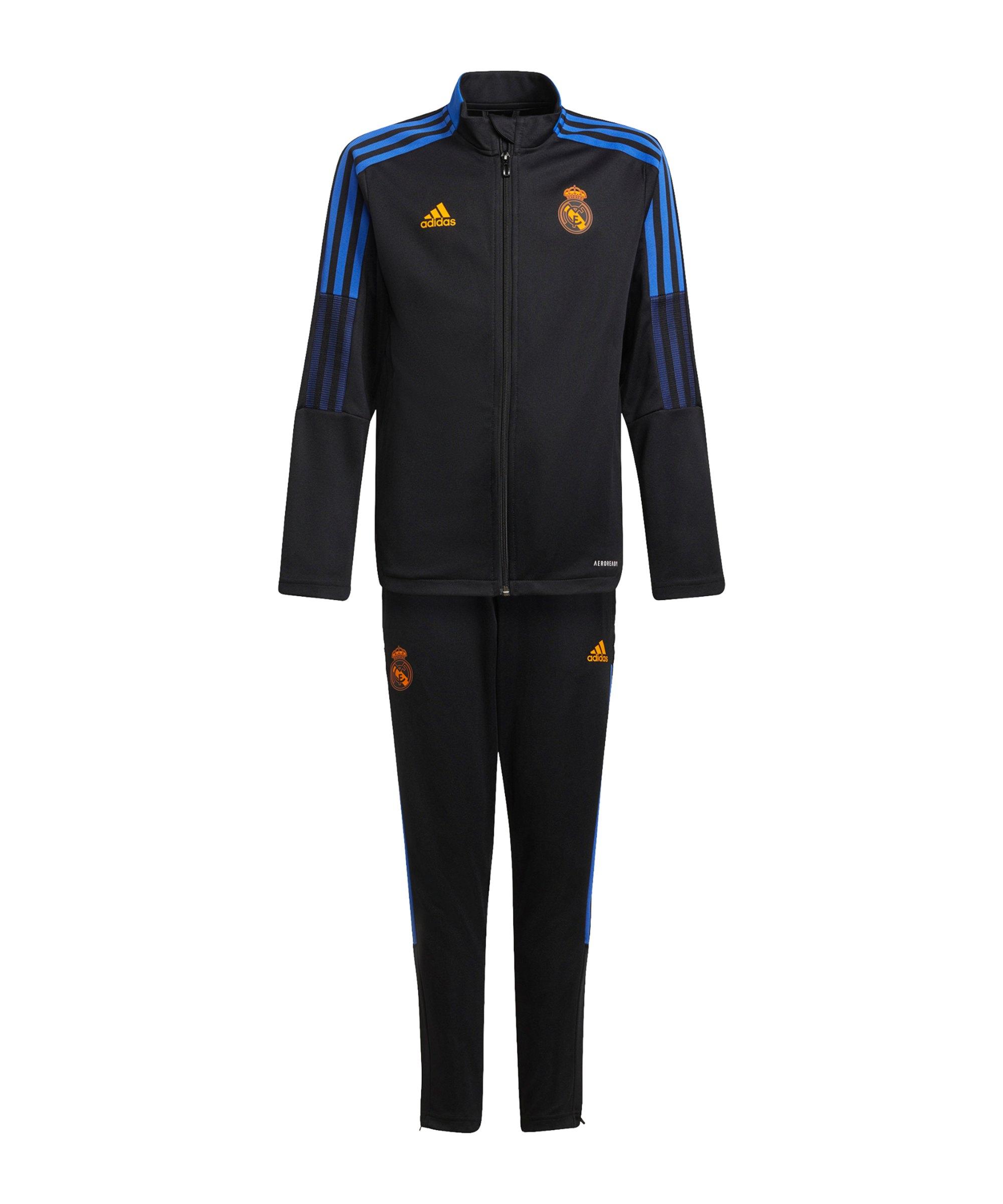 adidas Real Madrid Trainingsanzug Kids Schwarz - schwarz