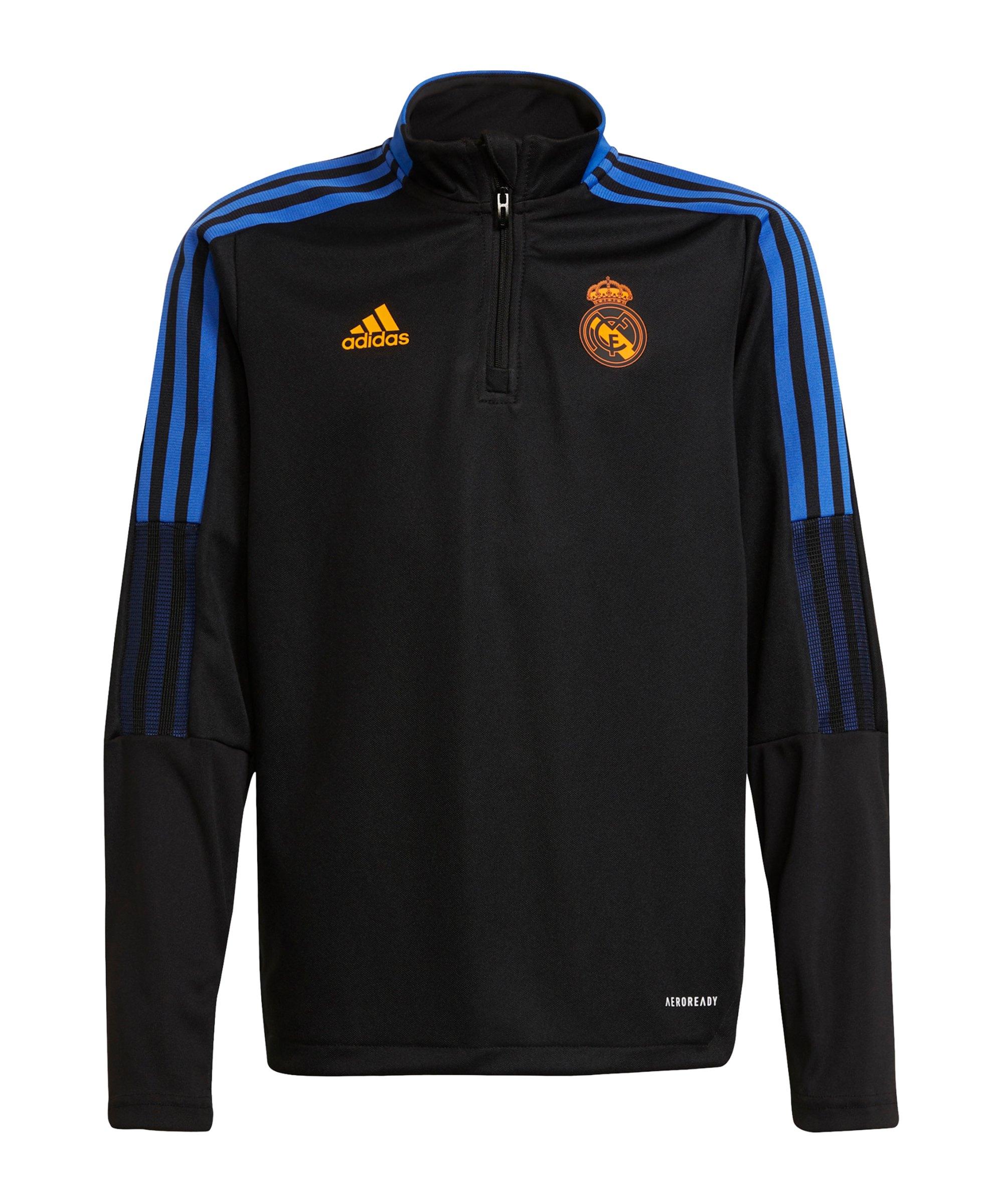 adidas Real Madrid HalfZip Sweatshirt Kids Schwarz - schwarz