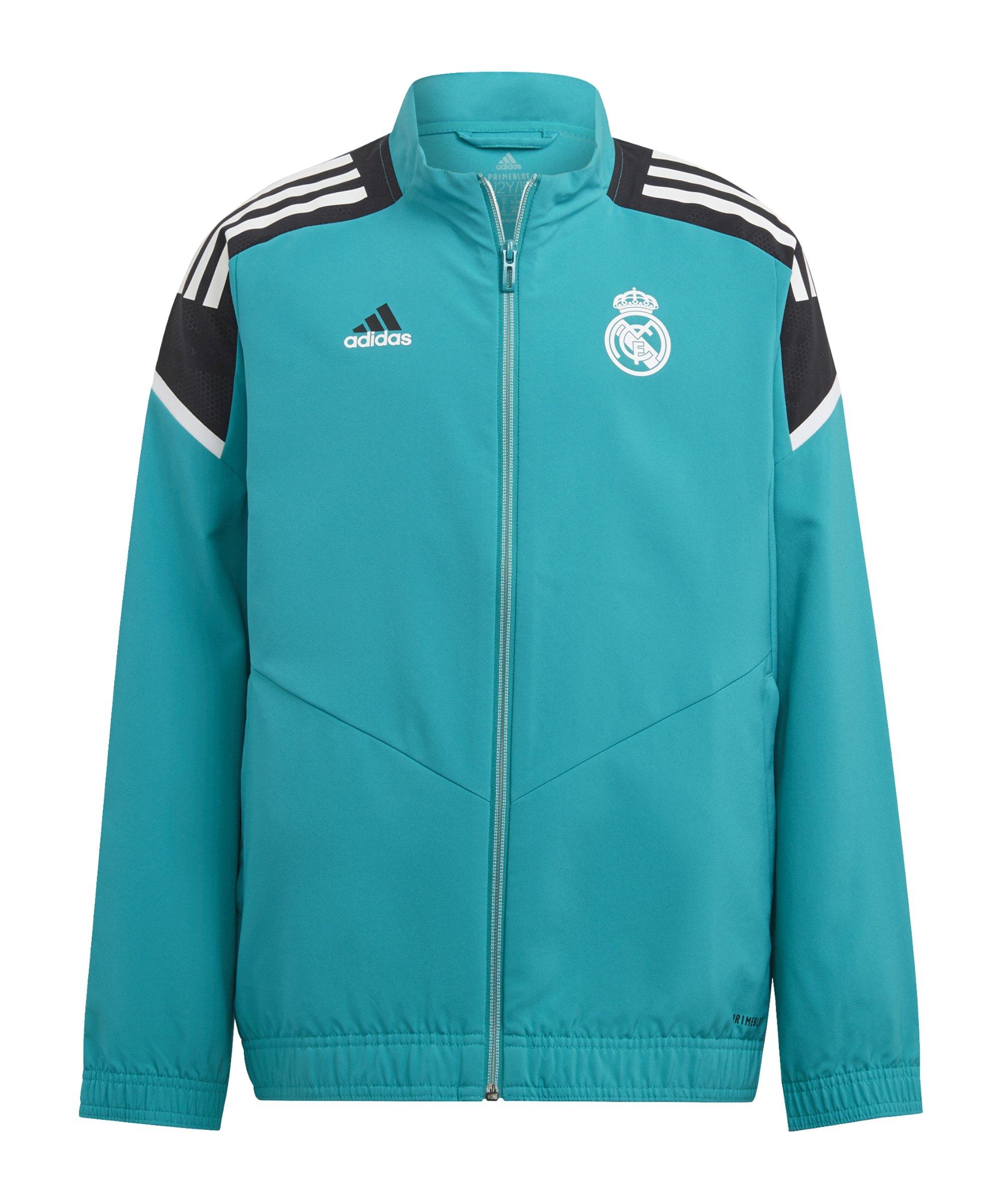adidas Real Madrid Prematch Jacke 2021/2022 Kids Grün - gruen
