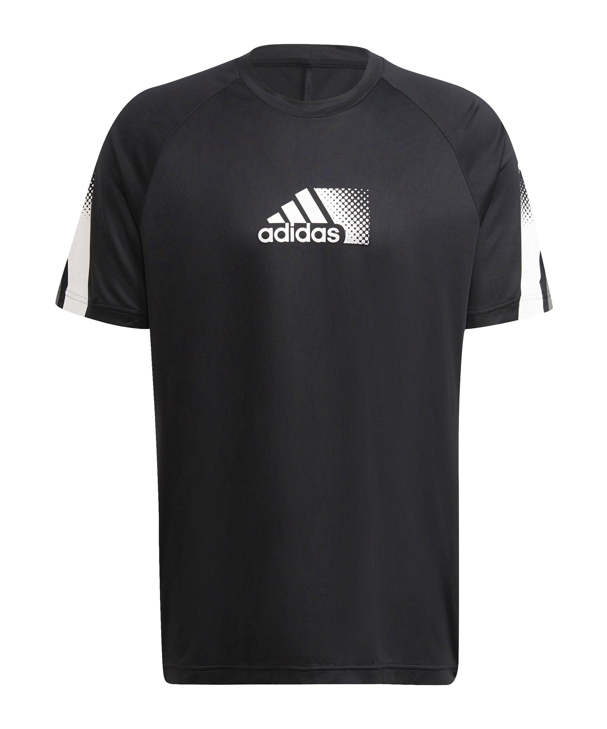 adidas D2M Seasonal T-Shirt Schwarz Weiss - schwarz