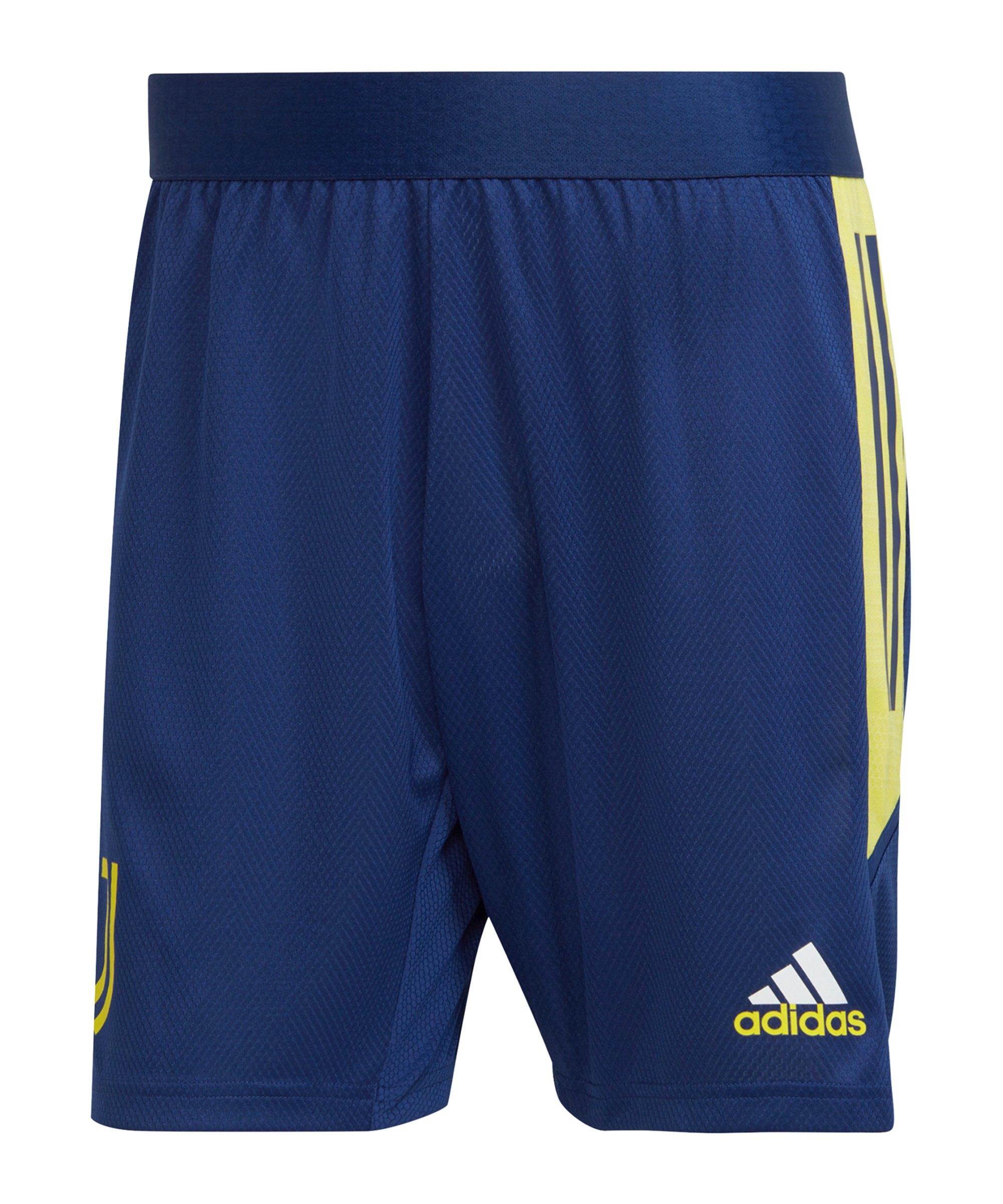 adidas Juventus Turin Trainingsshort Blau Gelb - blau