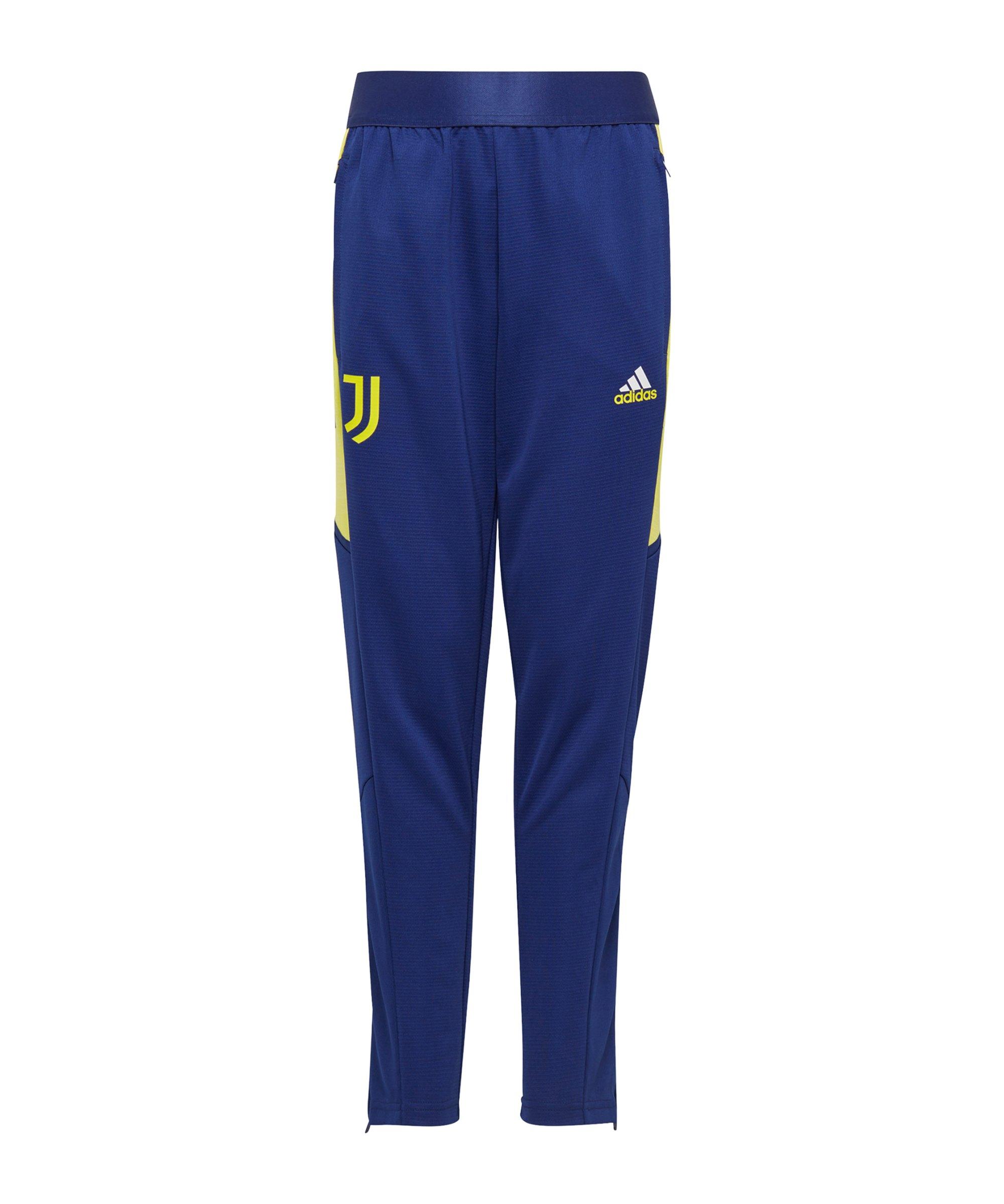 adidas Juventus Turin Trainingshose Kids Blau Gelb - gelb
