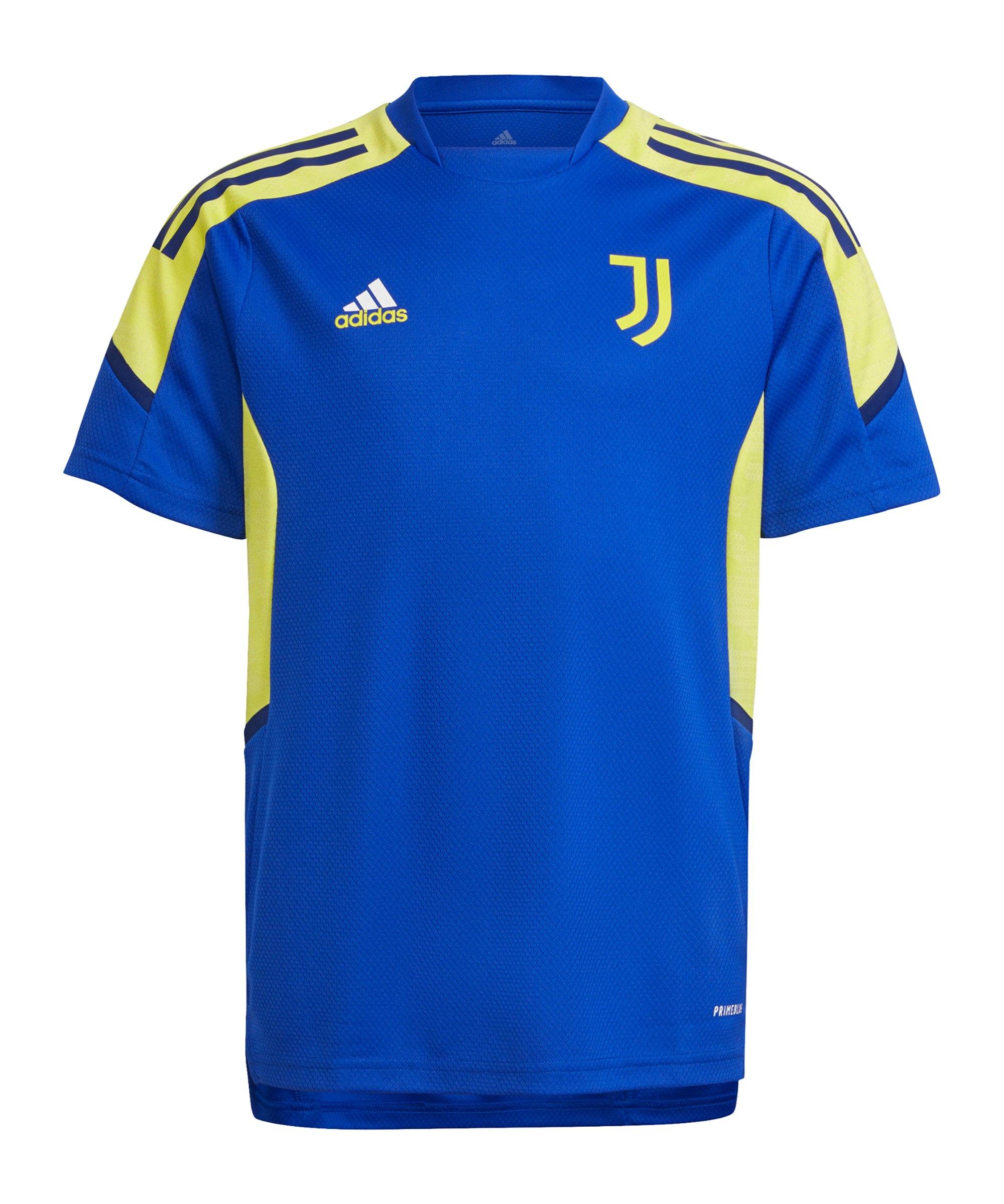 adidas Juventus Turin Trainingsshirt Kids Blau Gelb - blau