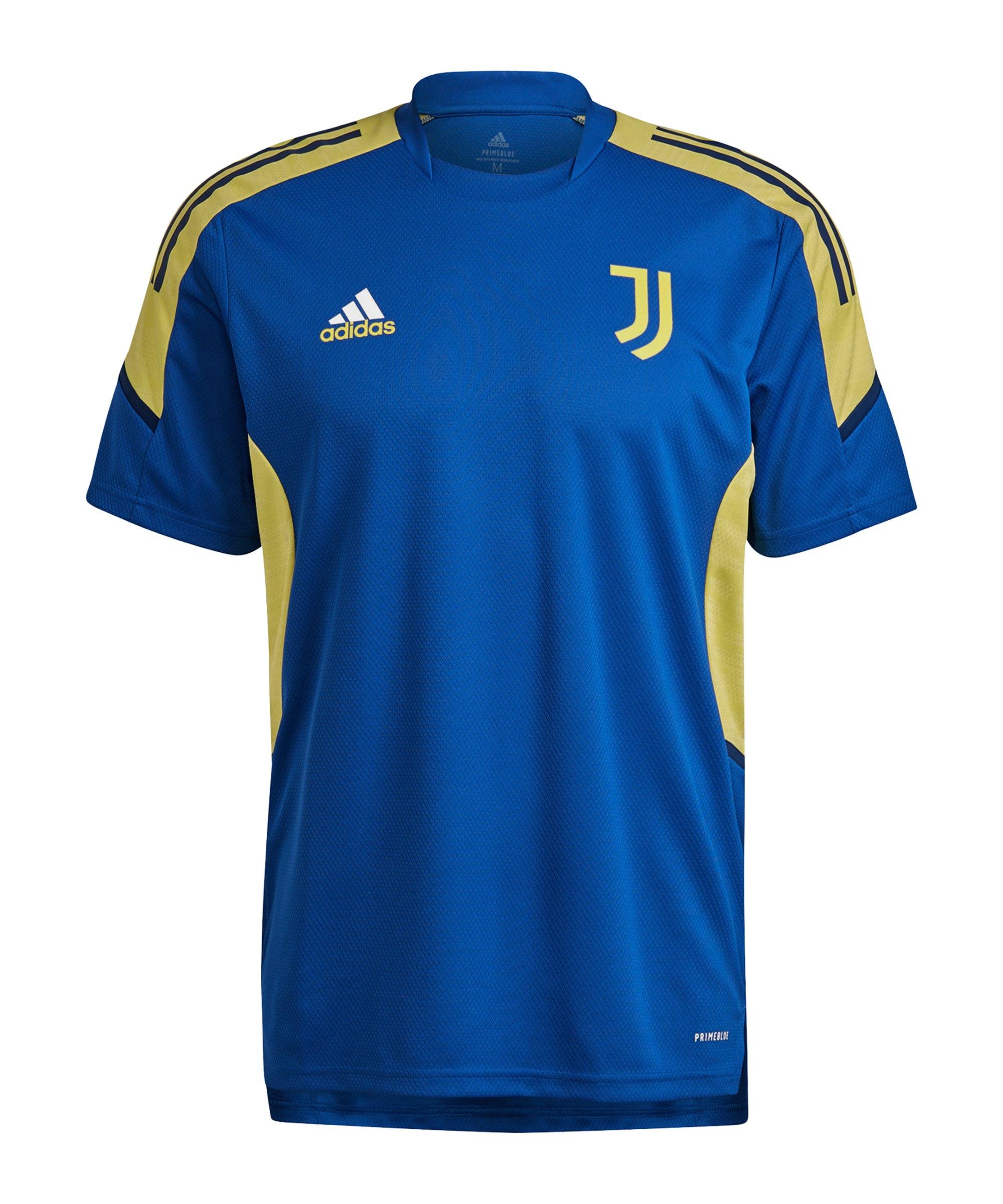 adidas Juventus Turin Trainingsshirt Blau Gelb - blau