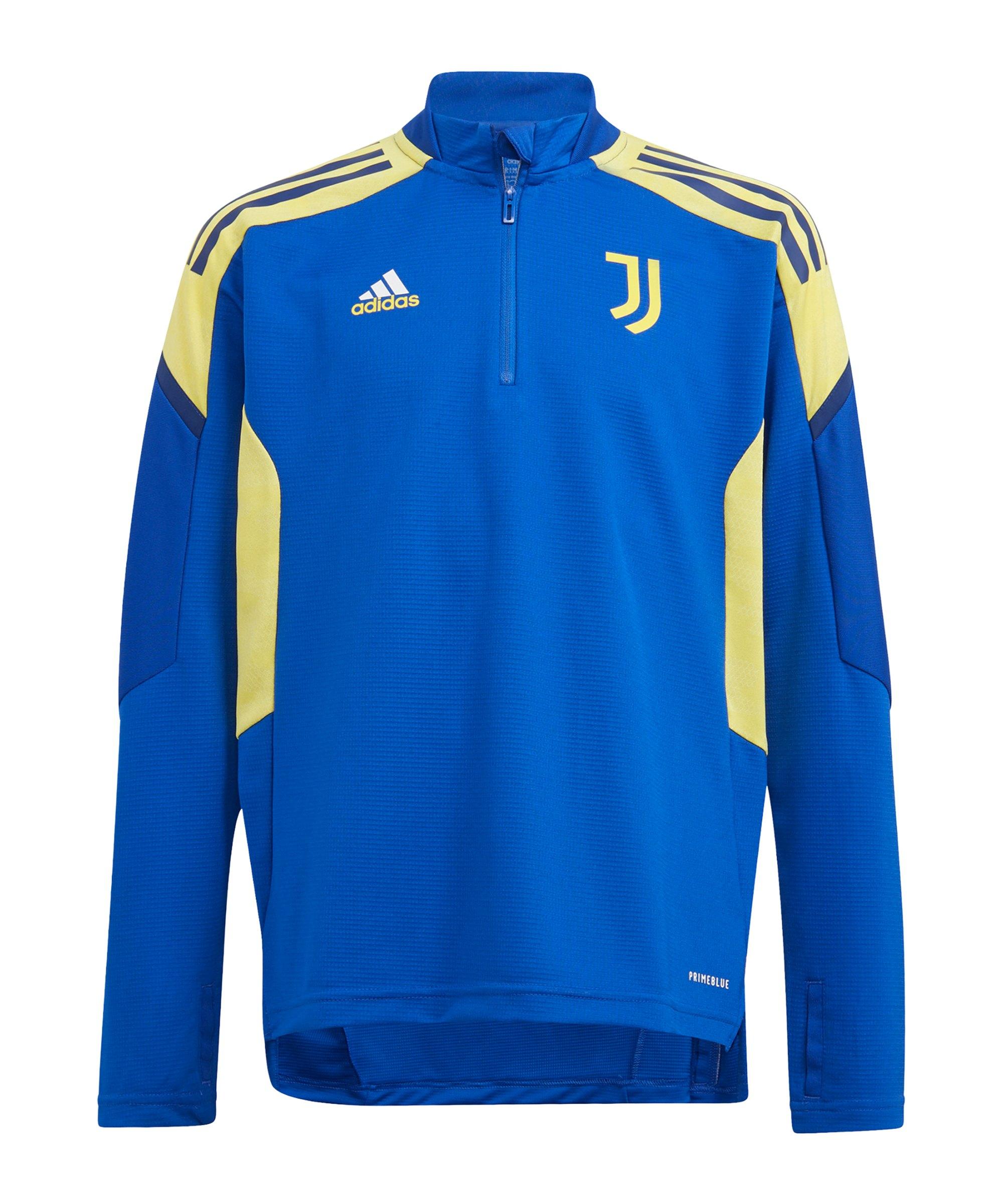 adidas Juventus Turin HalfZip Sweatshirt Kids Blau Gelb - blau