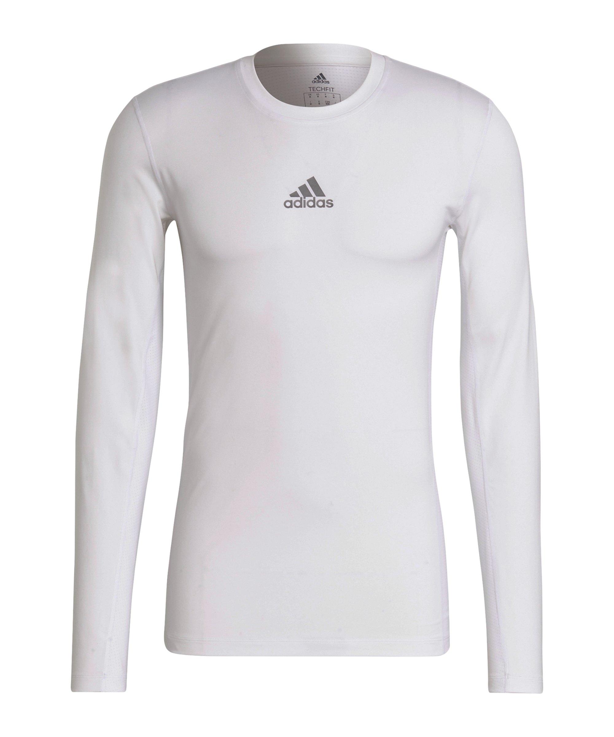 adidas Techfit Shirt langarm Weiss - weiss