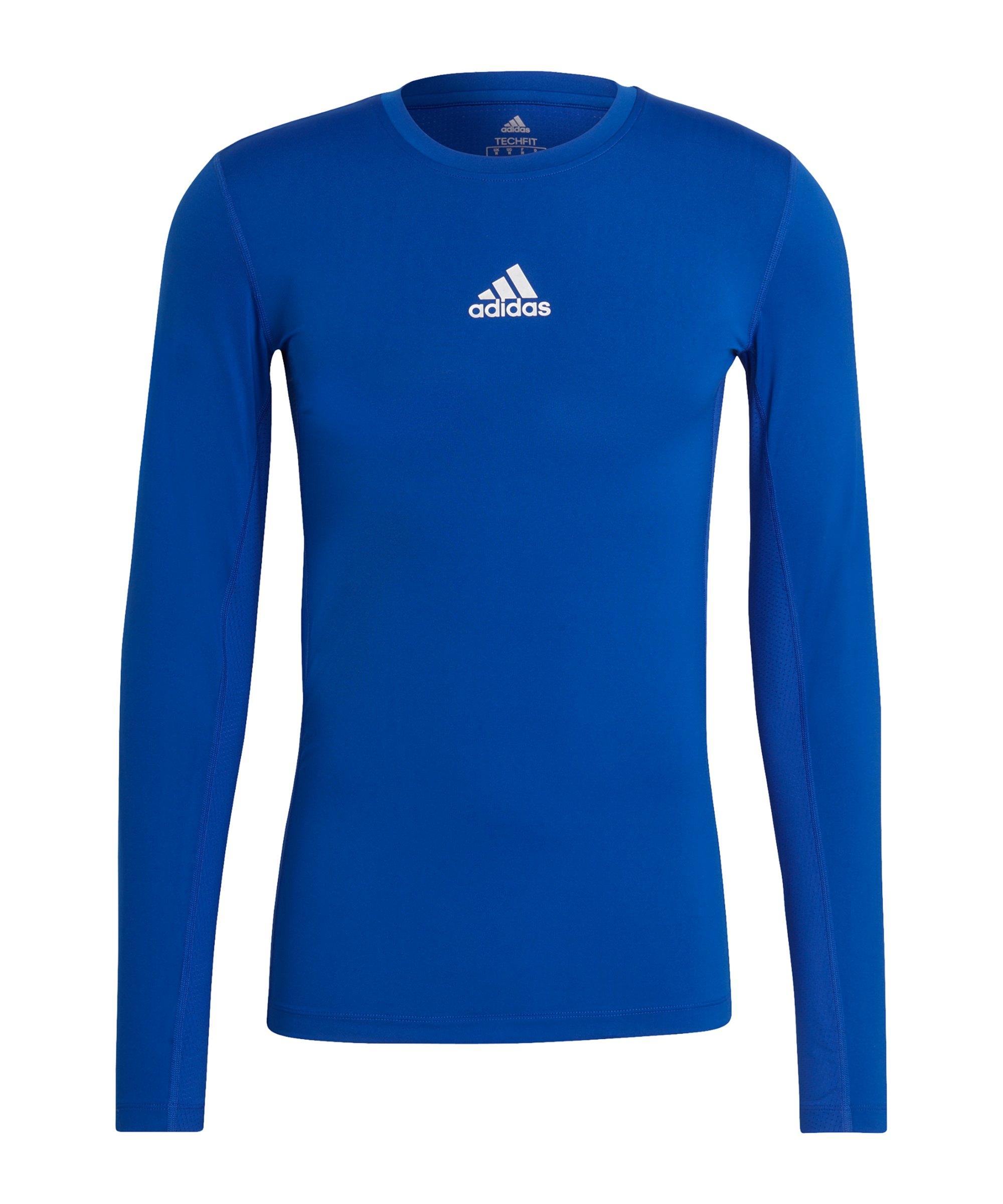 adidas Techfit Shirt langarm Blau - blau