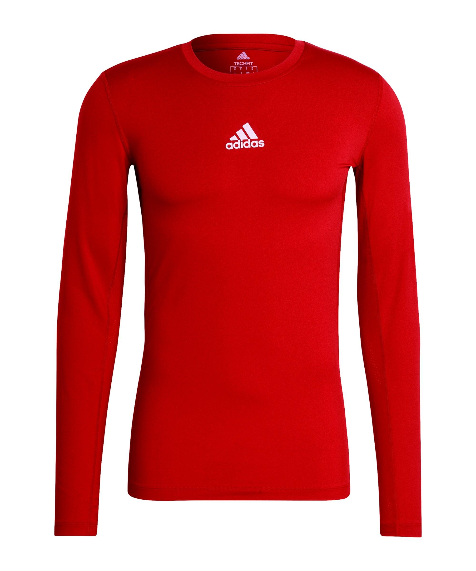 adidas Techfit Shirt langarm Rot - rot
