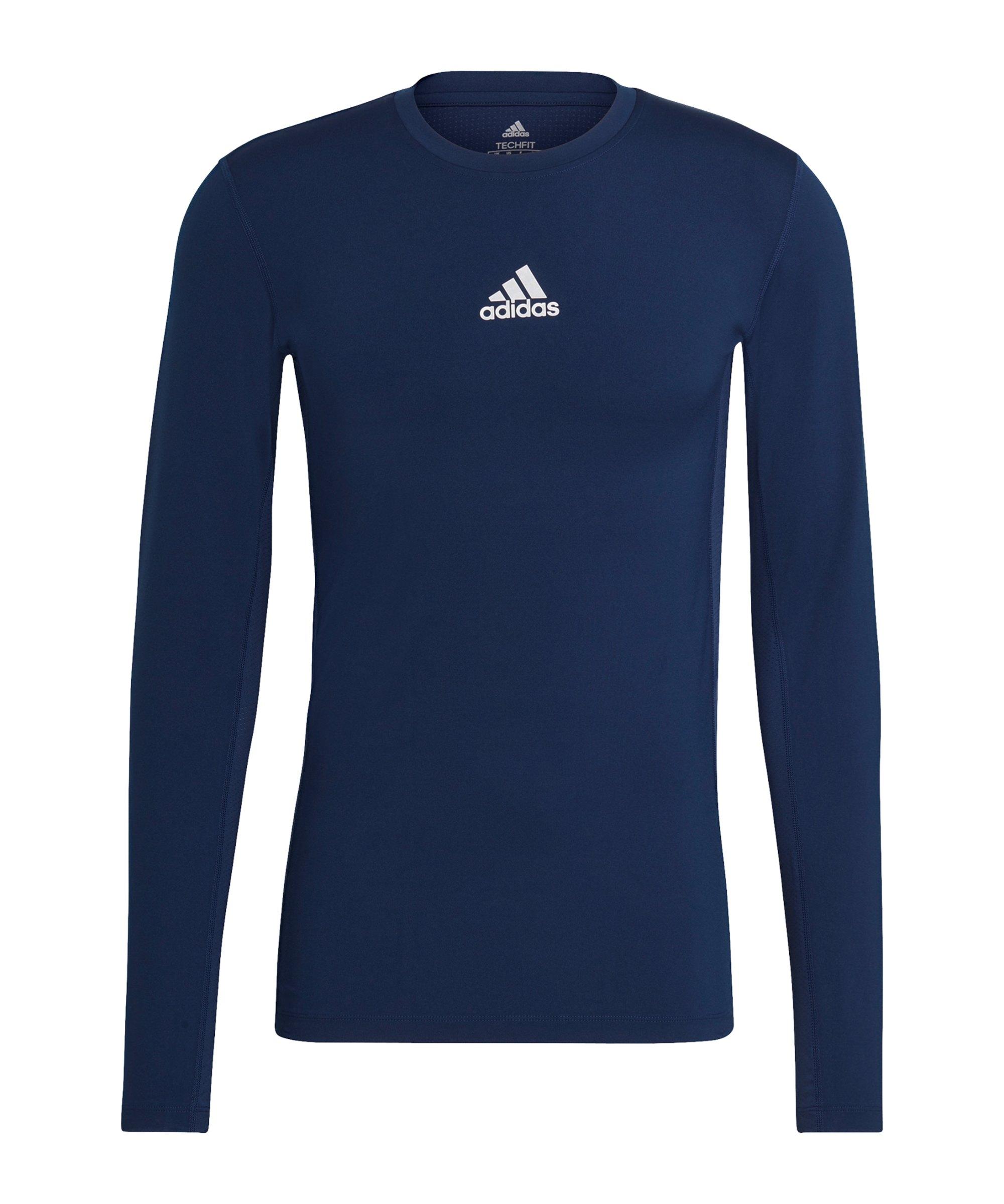 adidas Techfit Shirt langarm Dunkelblau - blau