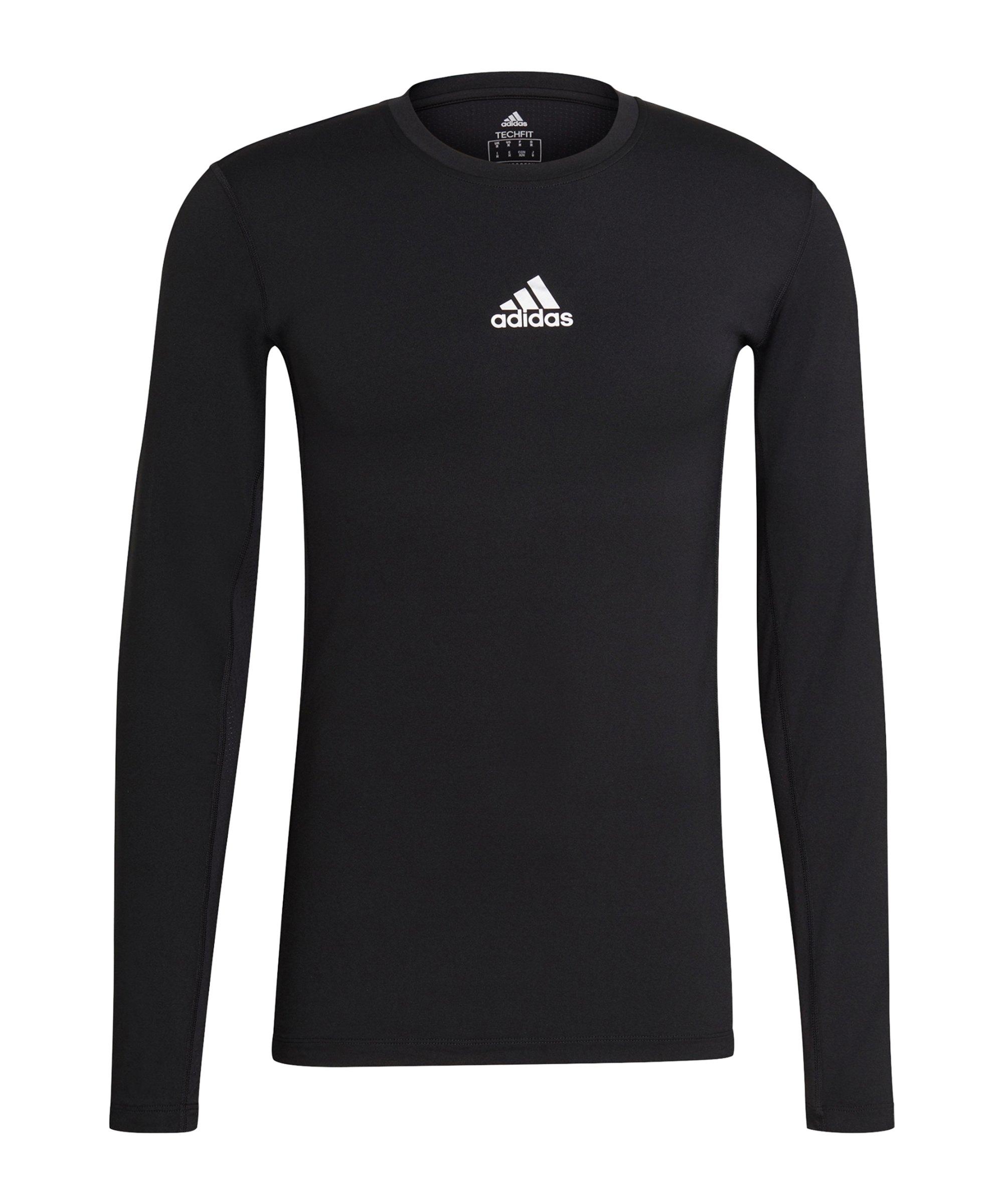 adidas Techfit Shirt langarm Schwarz - schwarz