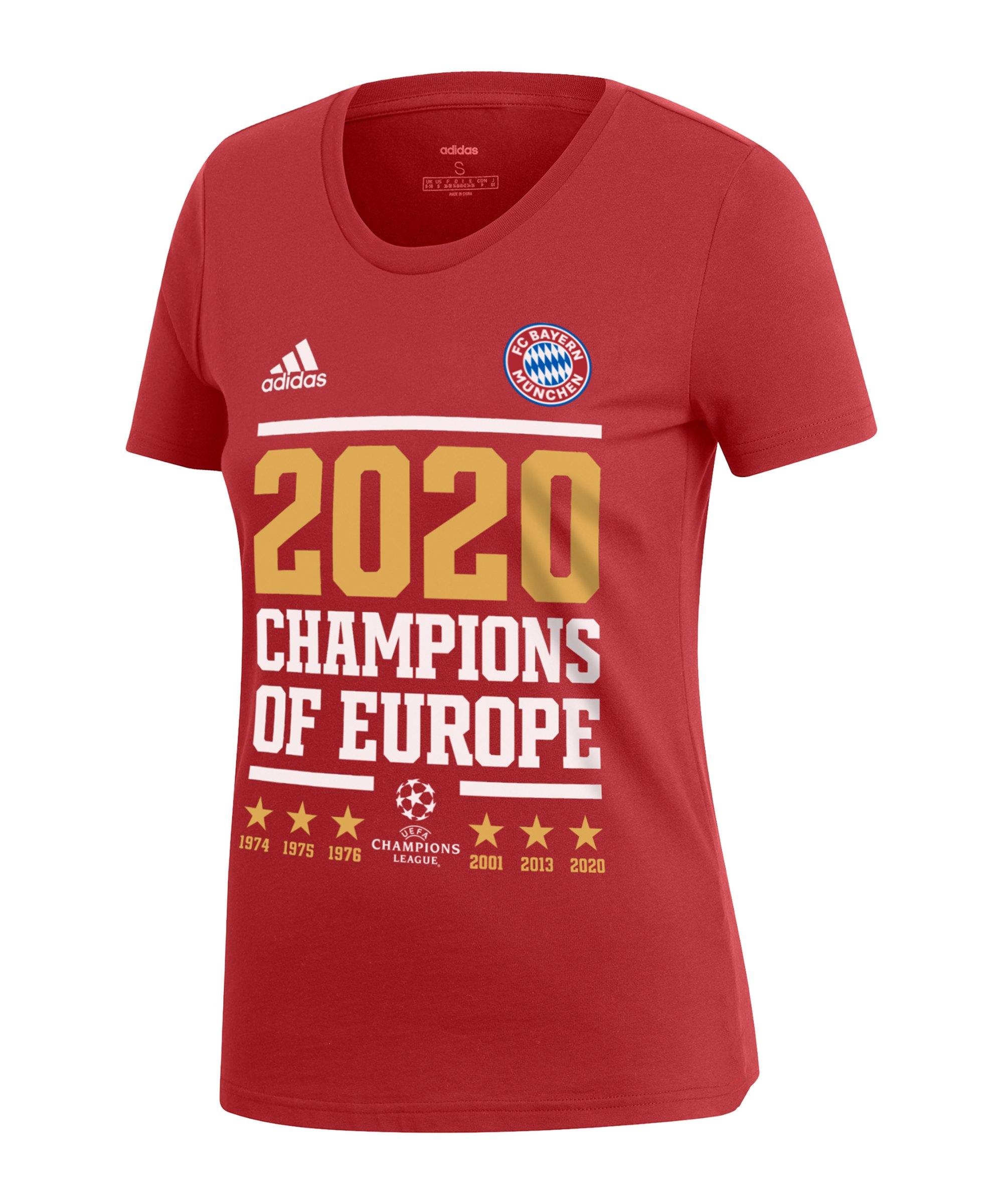 adidas FC Bayern München UCL 2020 T-Shirt Damen Rot - rot