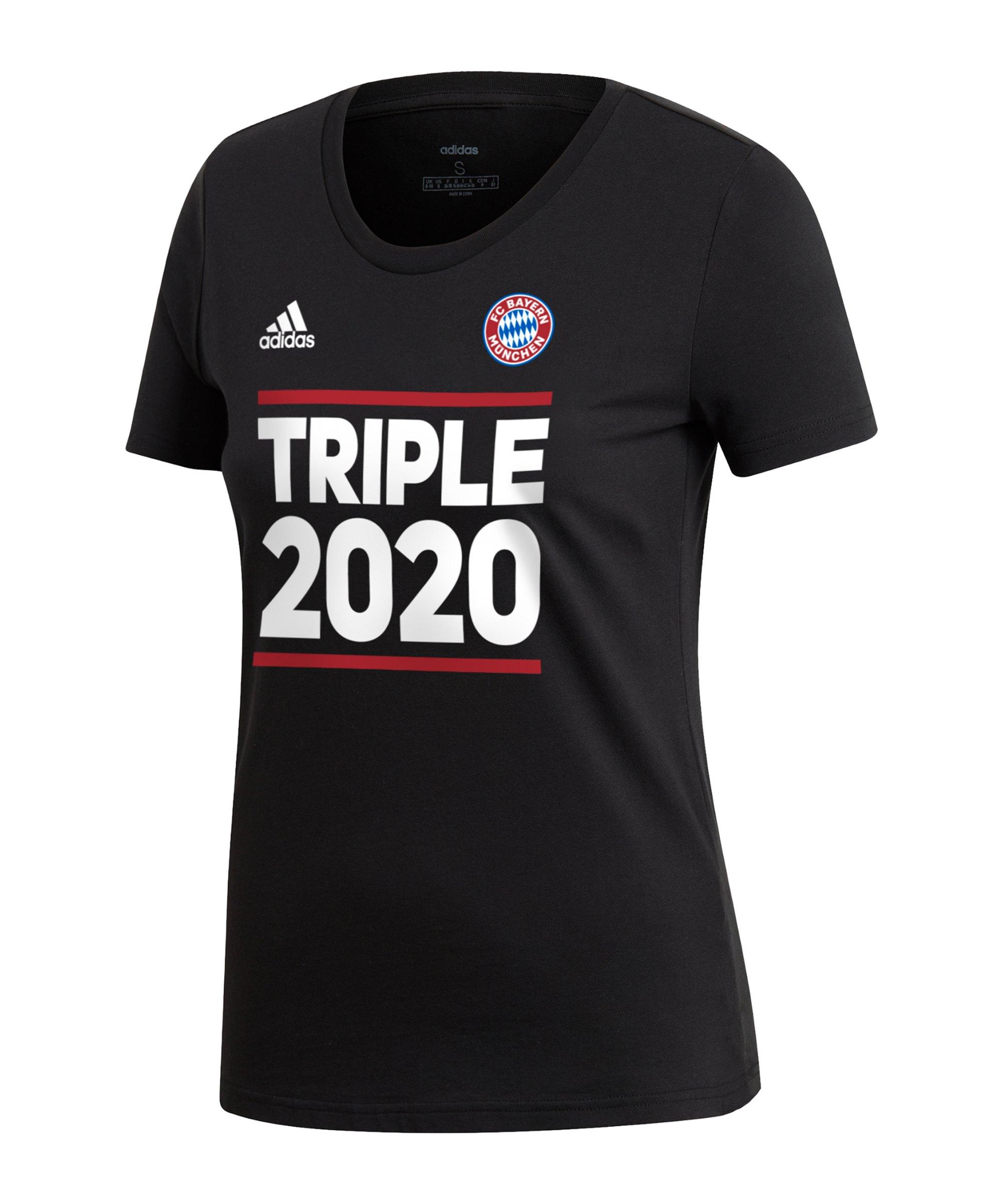 adidas FC Bayern München Triple 2020 T-Shirt Damen Schwarz - schwarz