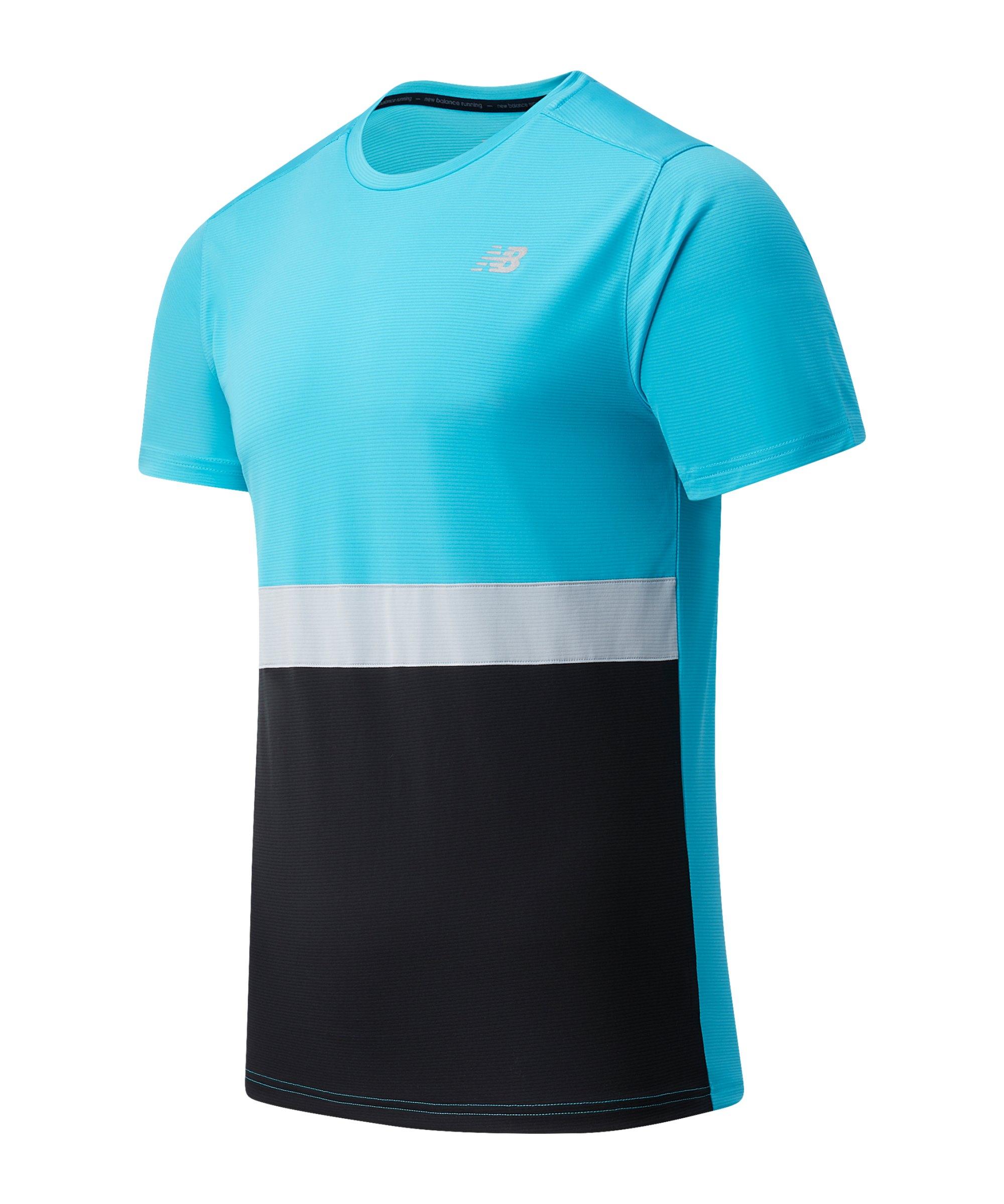 New Balance Striped Accelerate T-Shirt Blau FVLS - blau