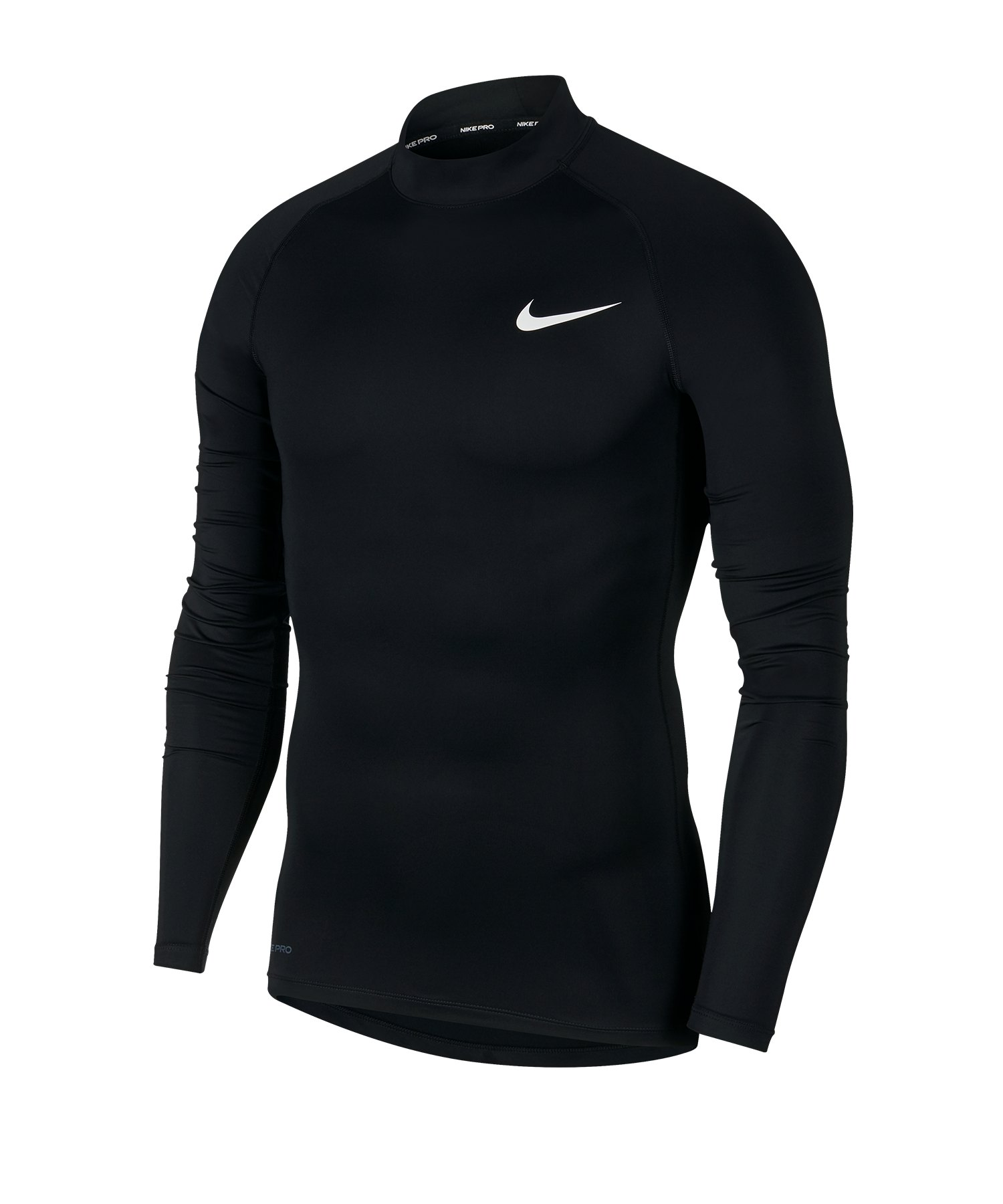 Nike Pro Training Top Mock langarm Schwarz F010 - schwarz