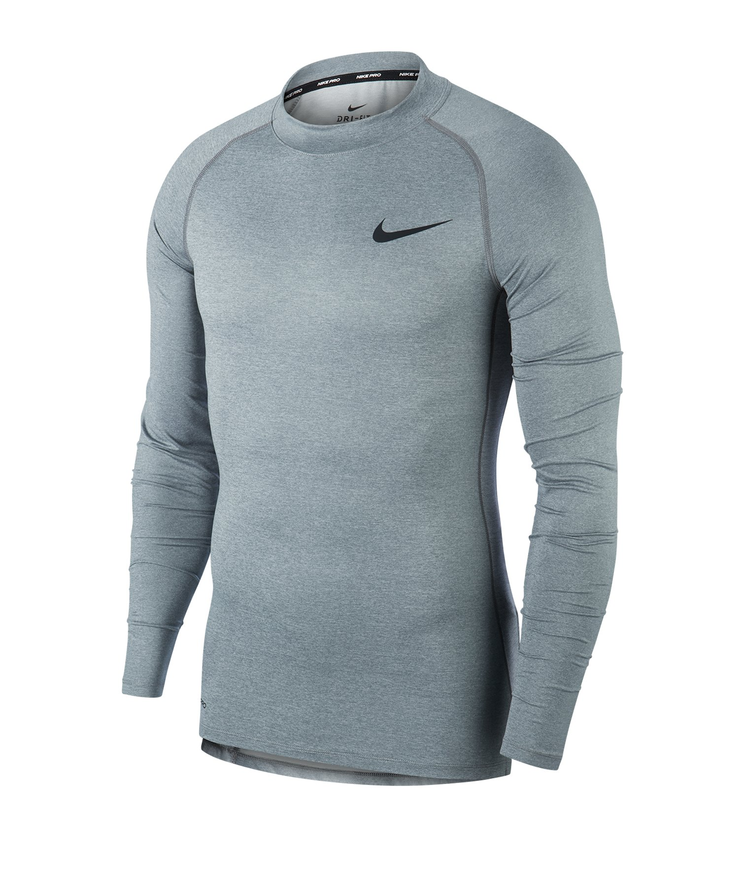 Nike Pro Training Top Mock langarm Grau F085 - grau