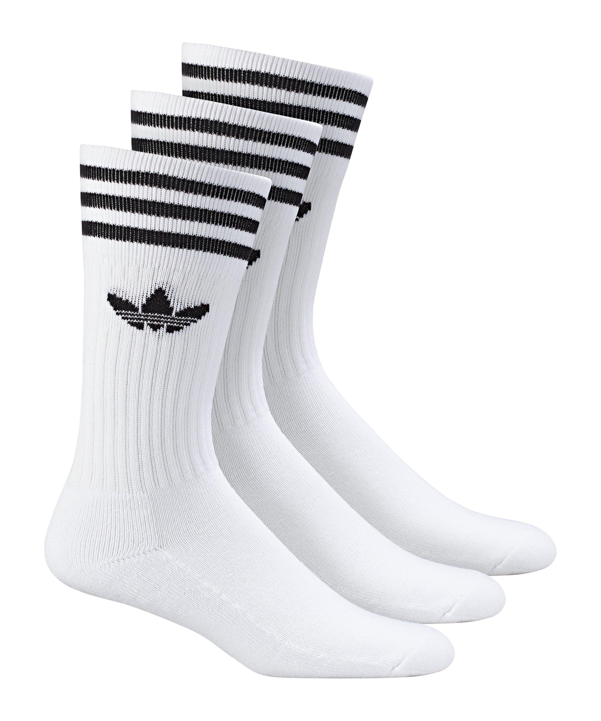 adidas Socken Solid Crew 3er Pack Weiss - weiss