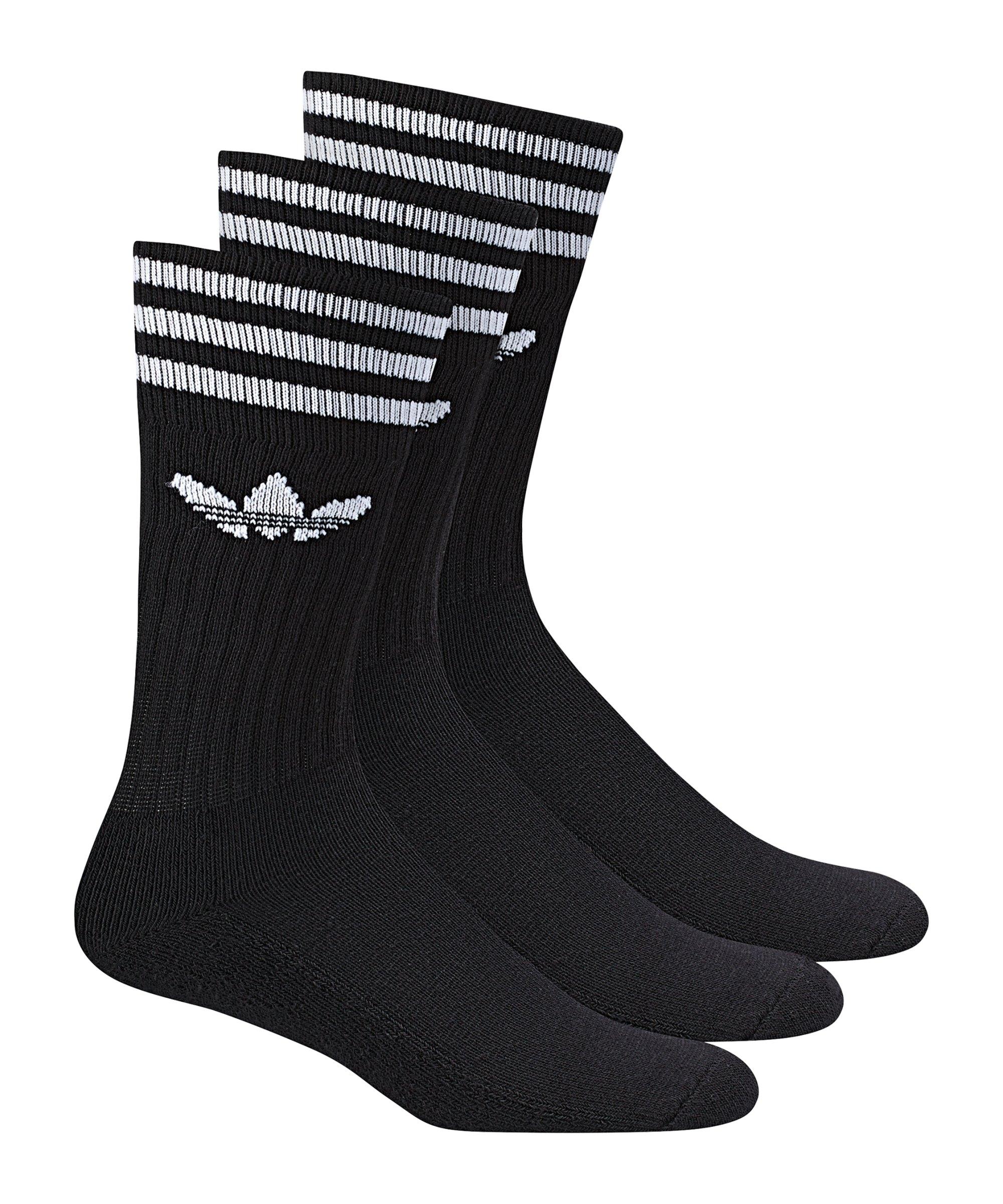 adidas Socken Solid Crew 3er Pack Schwarz - schwarz