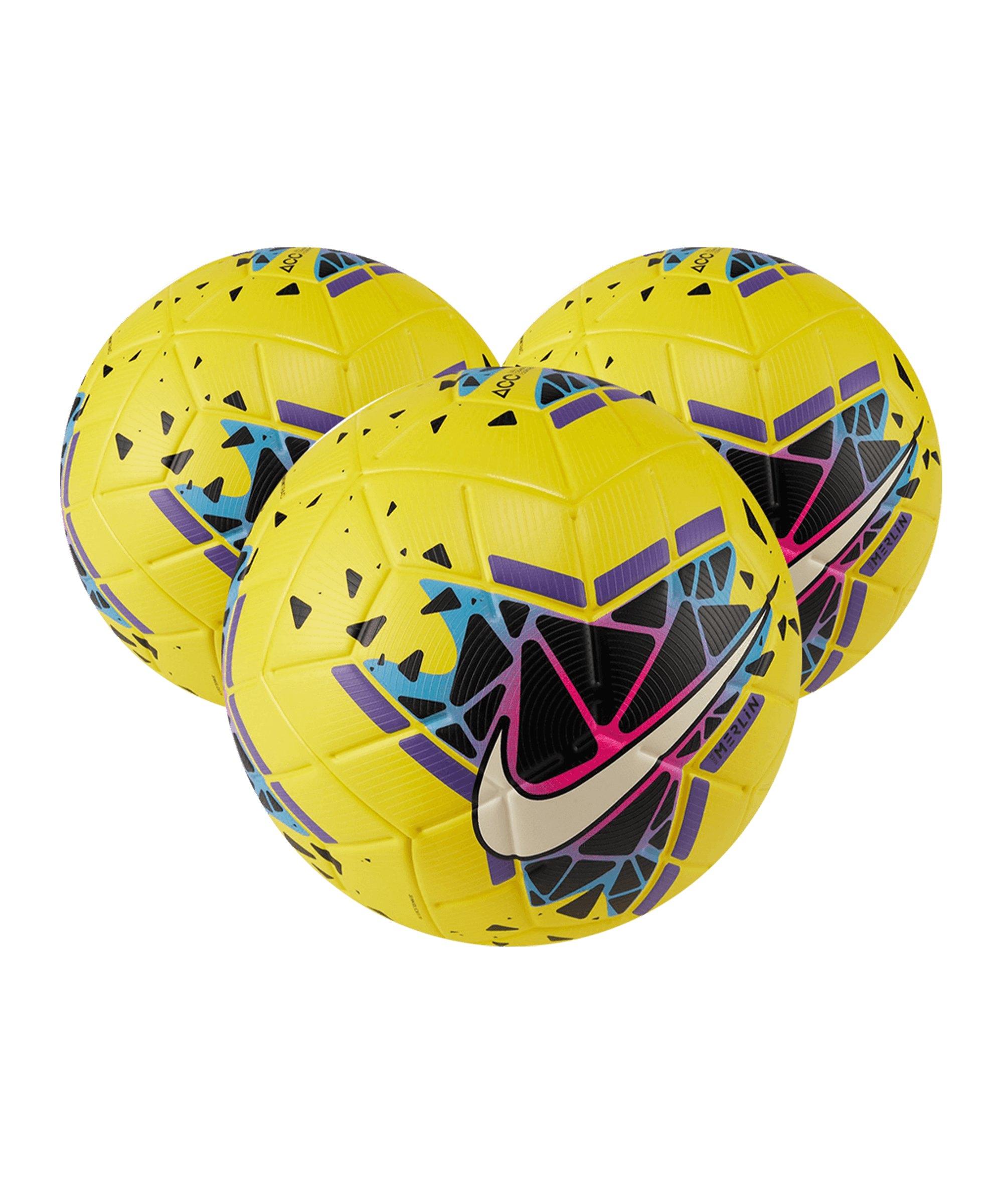 Nike Merlin FA19 Spielball 3x Gr5 Gelb Schwarz F710 - gelb