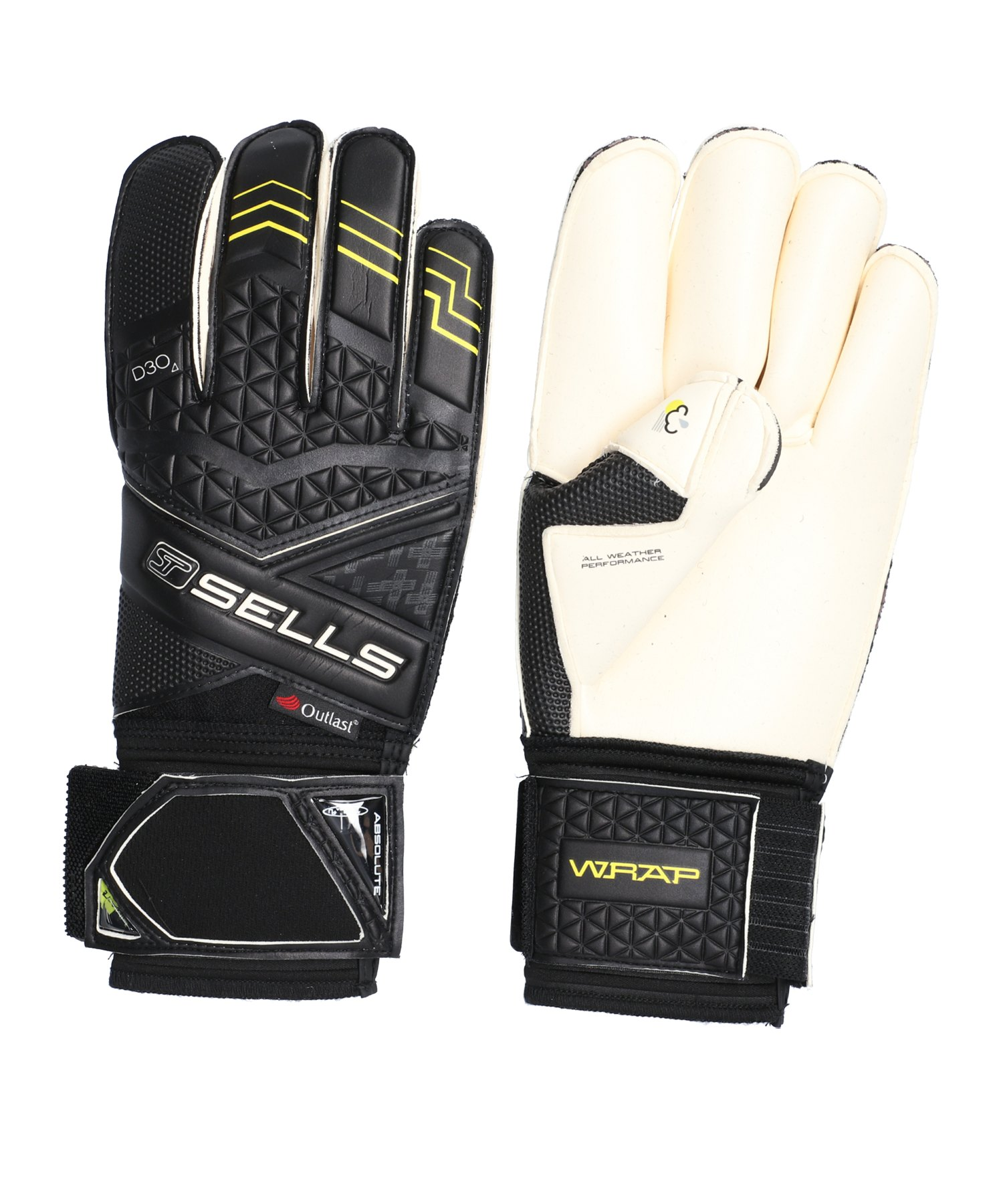 Sells Wrap Elite Climate D3O TW-Handschuh Schwarz - schwarz