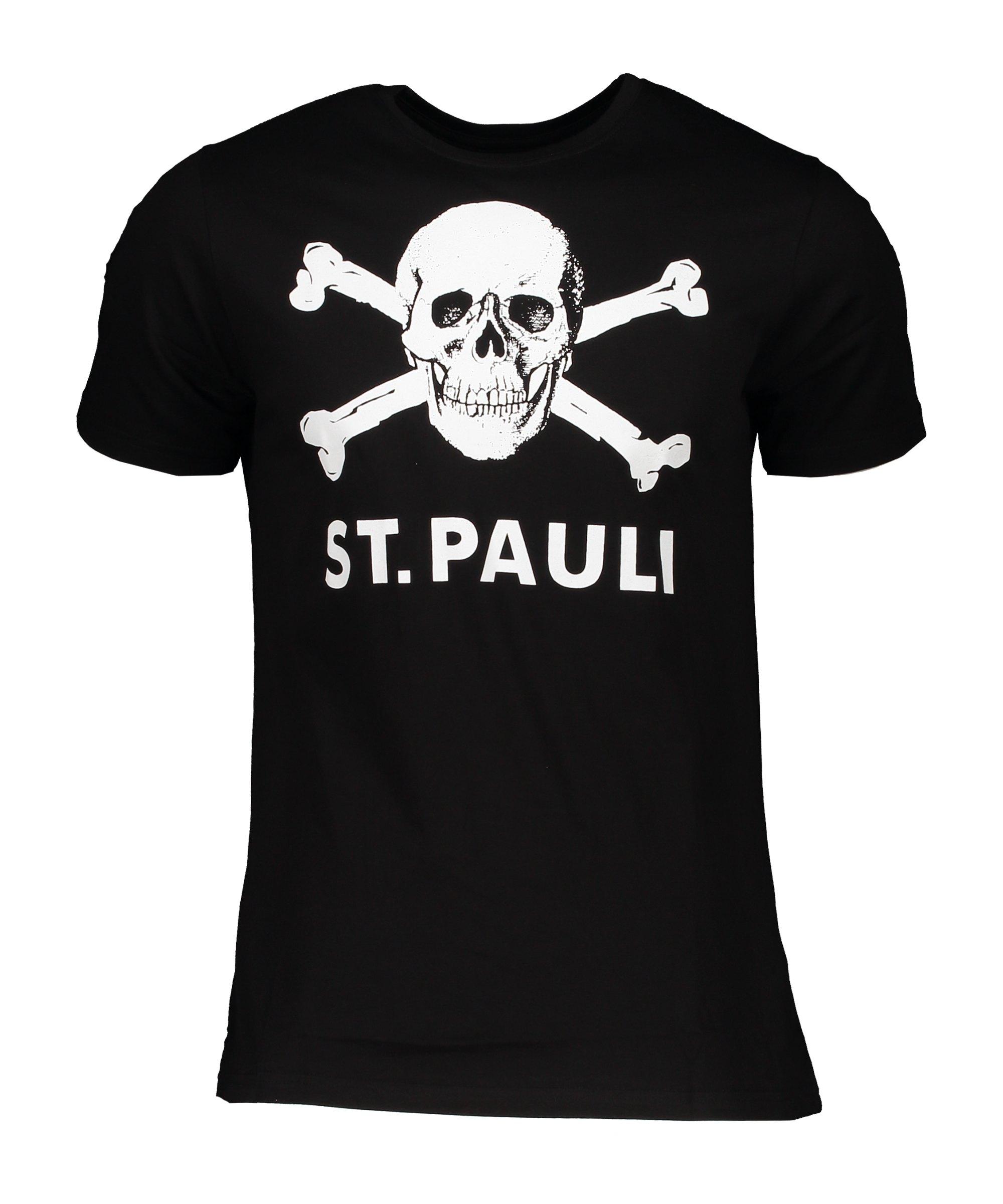 FC St. Pauli Totenkopf I T-Shirt Schwarz - schwarz