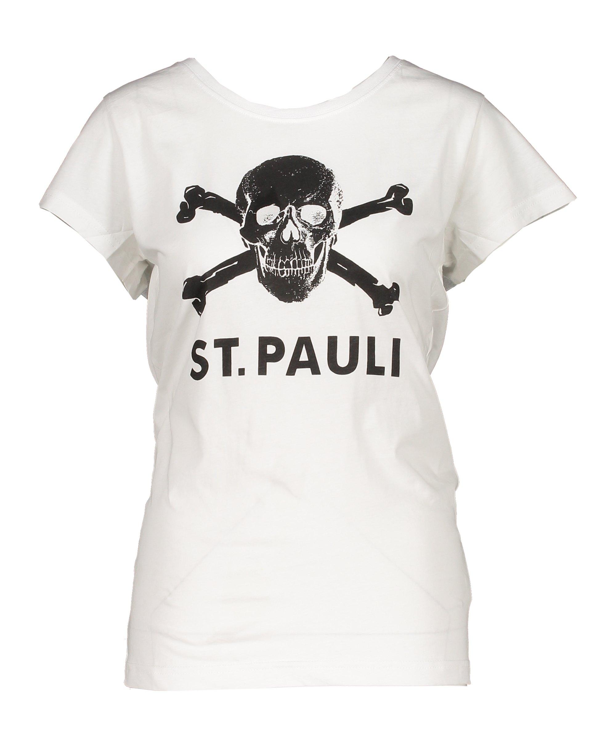 FC St. Pauli Totenkopf T-Shirt Damen Weiss - weiss