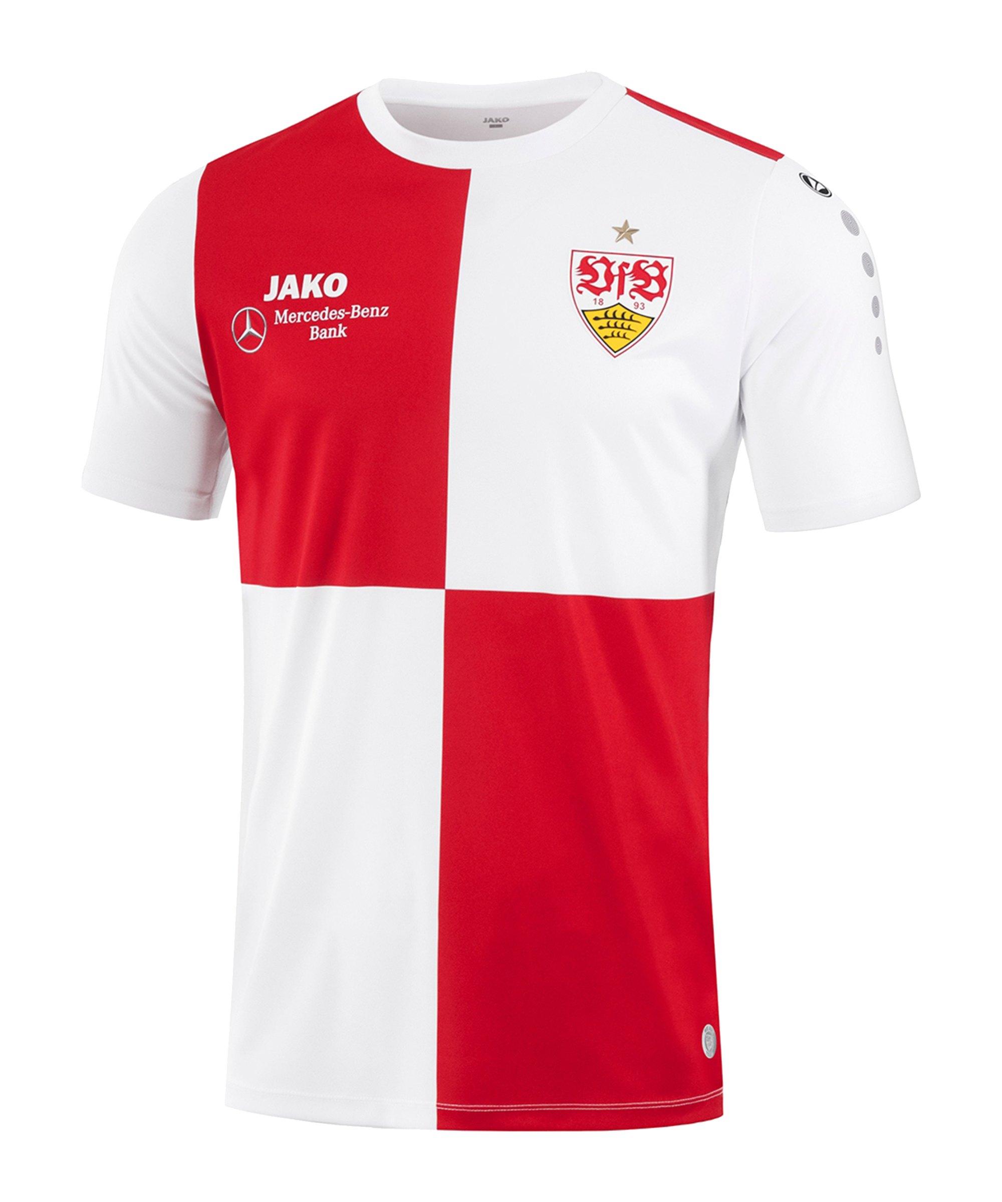 JAKO VfB Stuttgart Warm-Up T-Shirt 2021/2022 Weiss Rot F11 - weiss