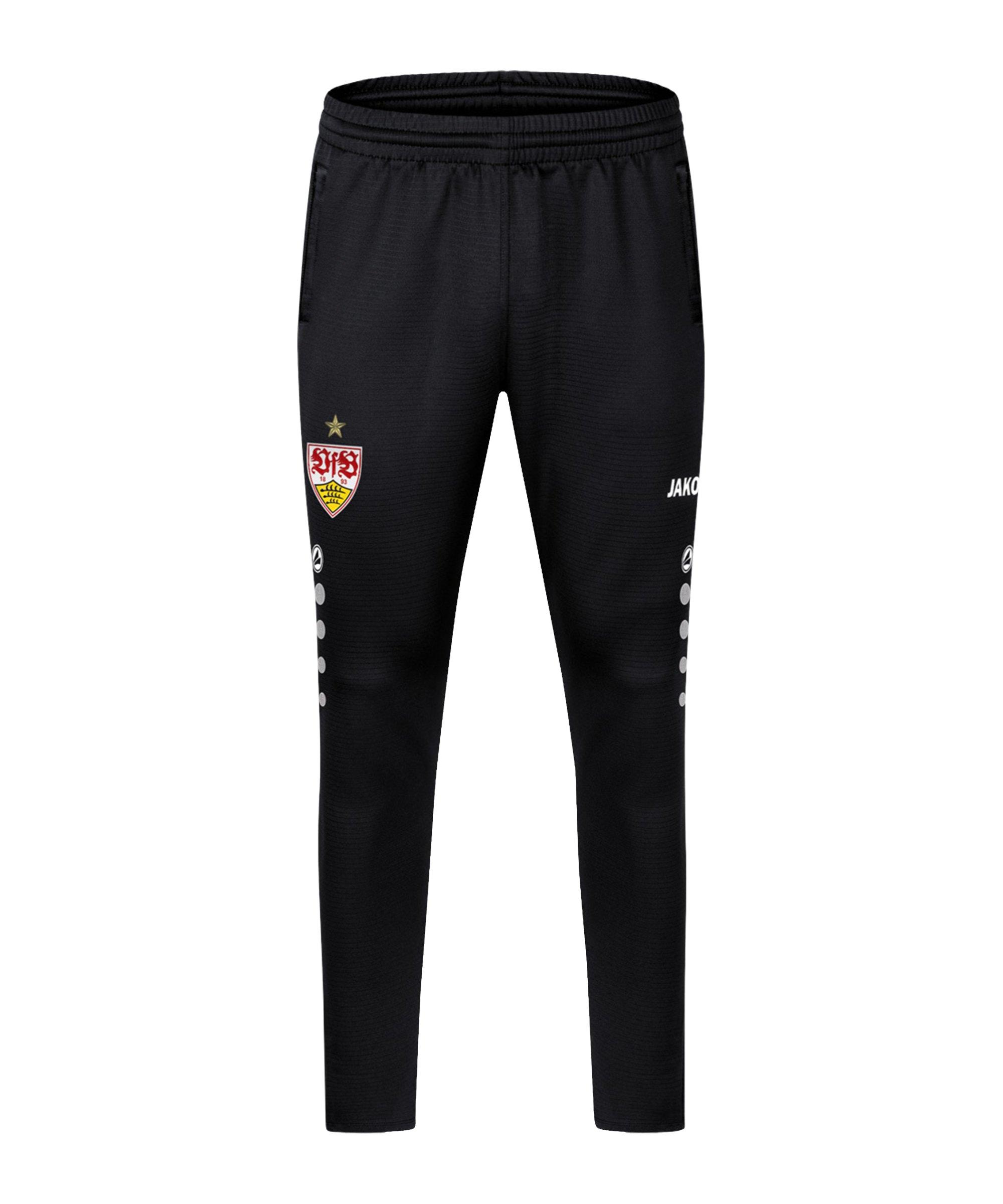 JAKO VfB Stuttgart Challenge Trainingshose Schwarz Weiss F802 - schwarz