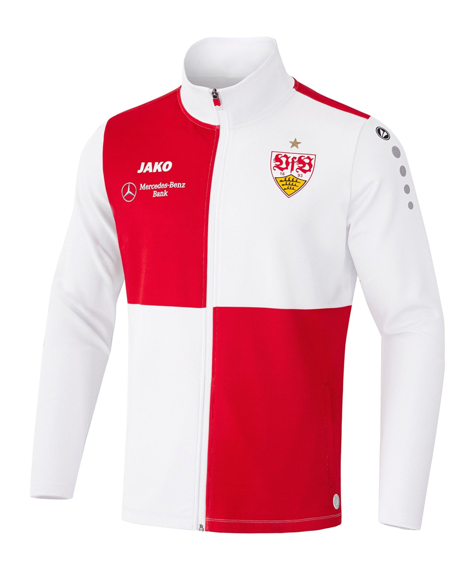 JAKO VfB Stuttgart Einlaufjacke 2021/2022 Weiss Rot F11 - weiss