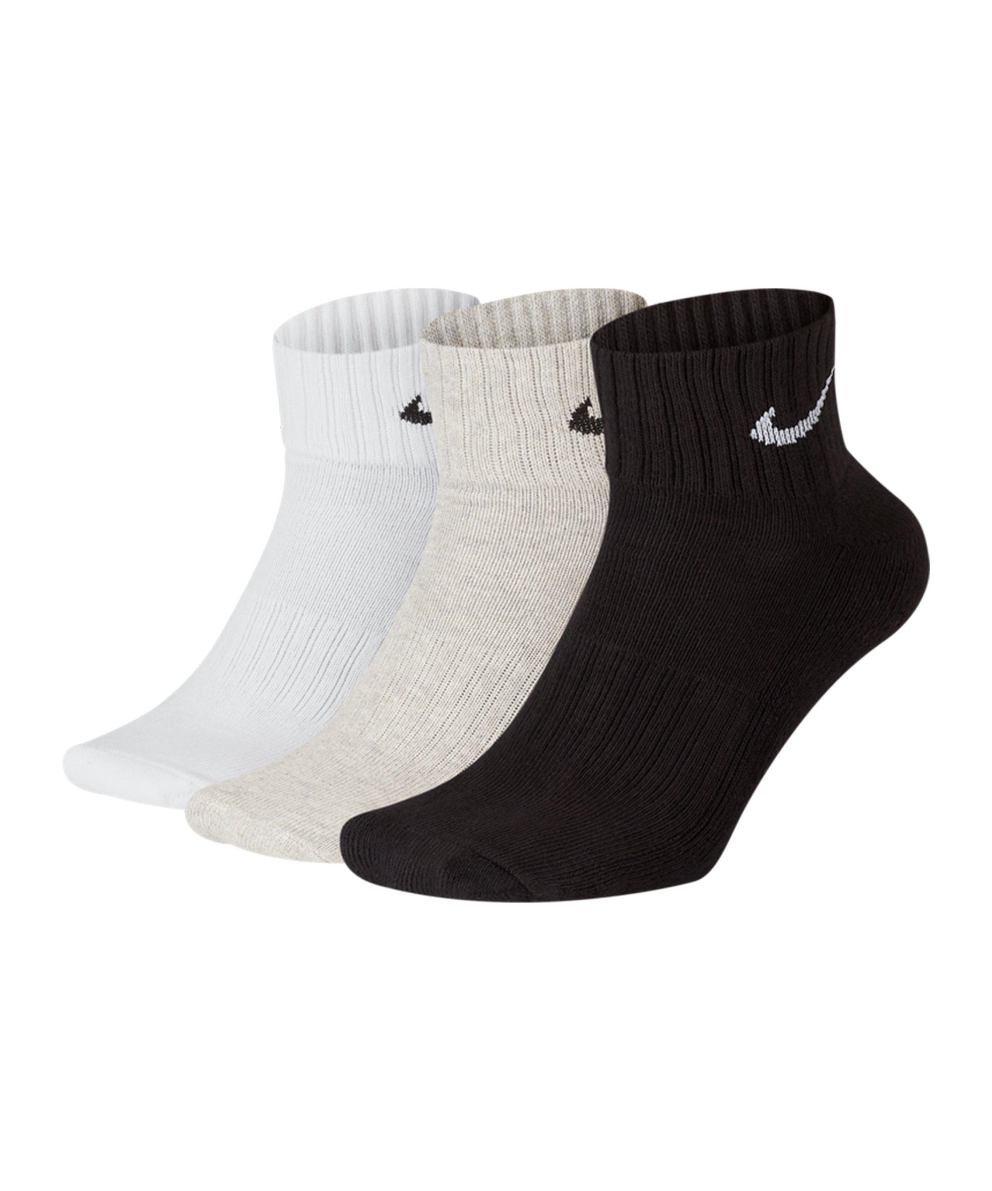 Nike Cushion Quarter 3er Pack Socken Training F901 - grau