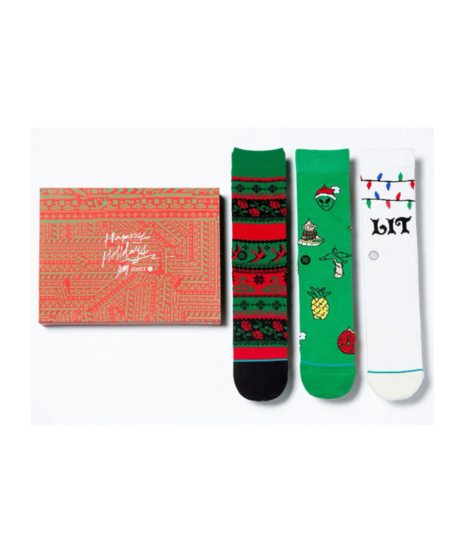 Stance Ornaments 3er Pack Socken Grün Weiss Rot - gruen