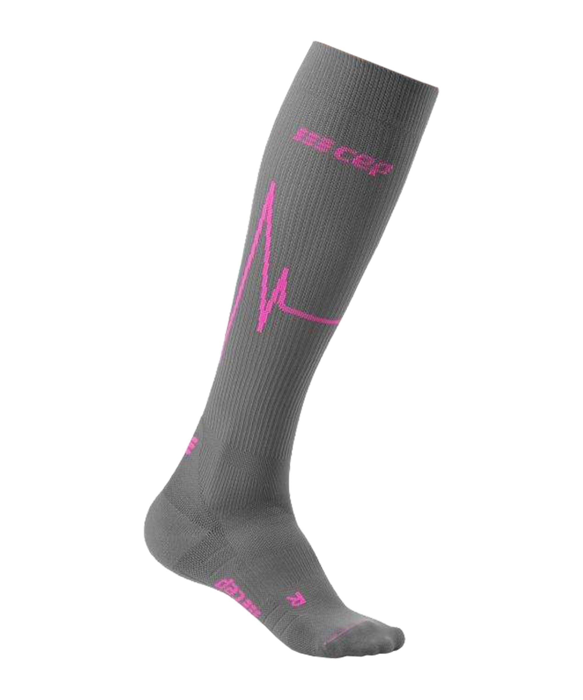CEP Heartbeat Socken Running Damen Grau - rot
