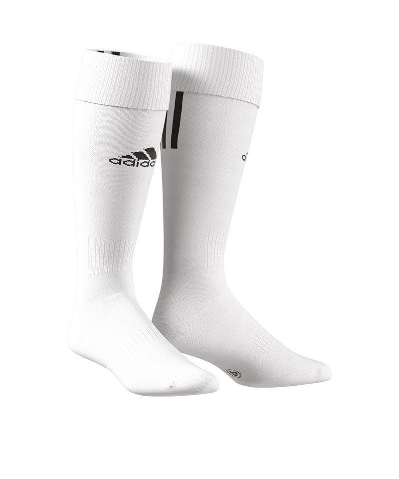 adidas Stutzenstrumpf Santos 3-Stripes Weiss - weiss
